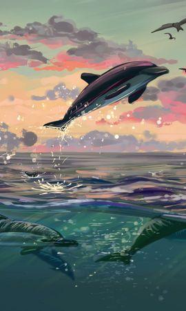 142399 baixar papel de parede Quicar, Saltar, Água, Arte, Mar, Golfinhos - protetores de tela e imagens gratuitamente