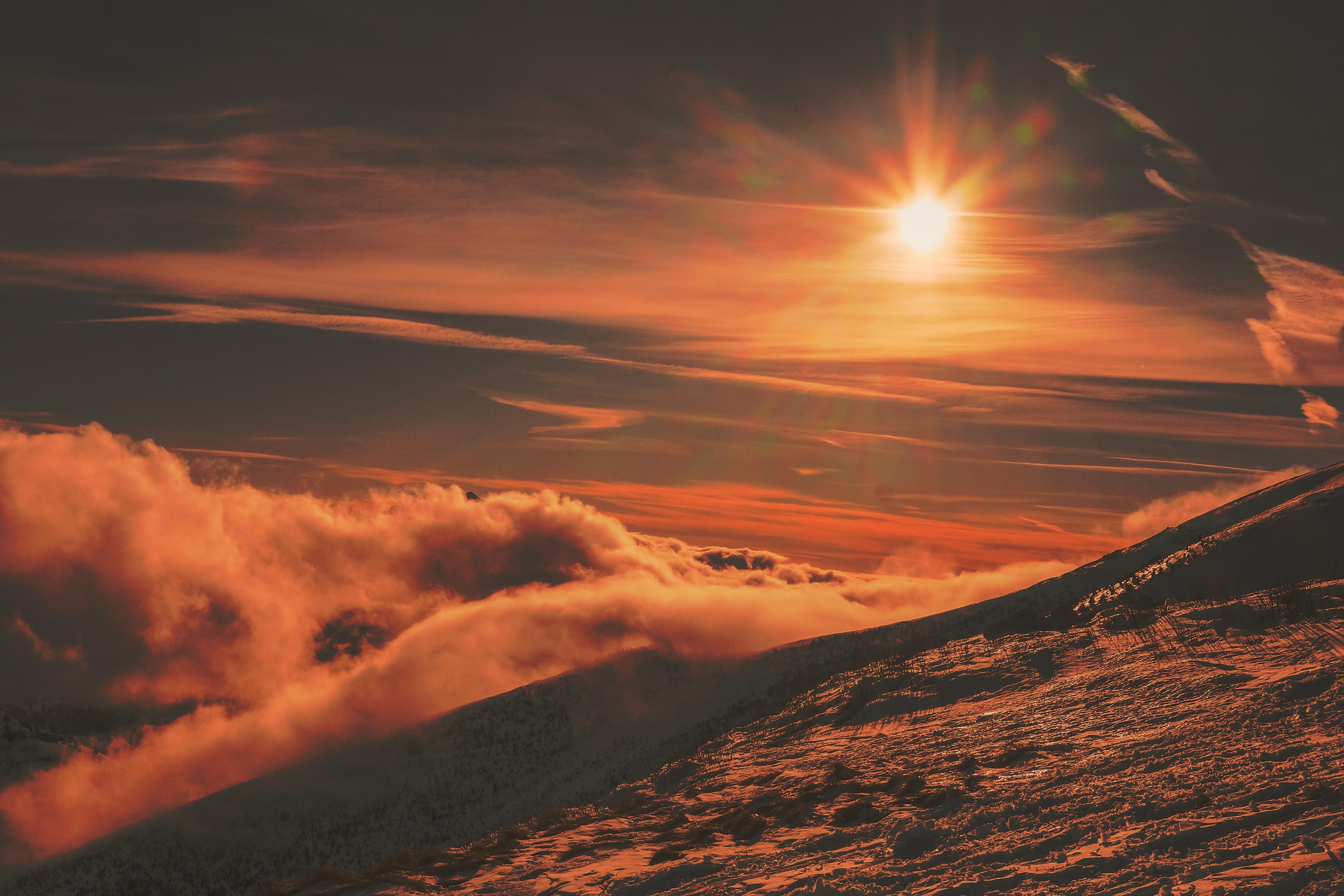 96326 Hintergrundbild herunterladen Natur, Sunset, Sky, Mountains, Schnee - Bildschirmschoner und Bilder kostenlos