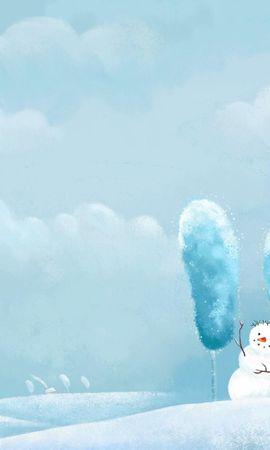 92619 descargar fondo de pantalla Vacaciones, Tres, Amigos, Sonrisas, Sonreír, Tormenta De Invierno, Nevasca, Invierno, Muñeco De Nieve: protectores de pantalla e imágenes gratis