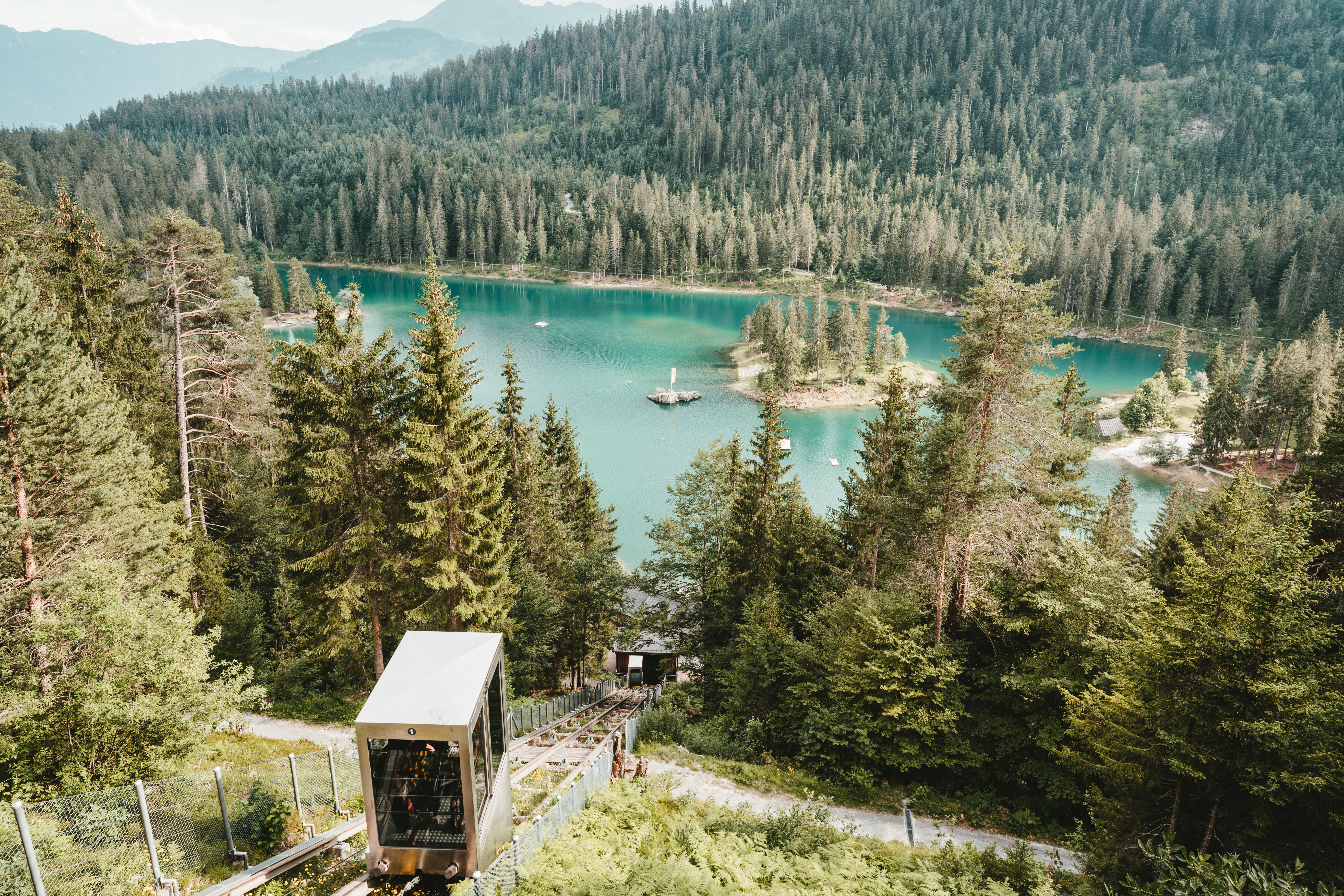 73460 download wallpaper Nature, Lake, Forest, Funicular, Mountains, Landscape screensavers and pictures for free