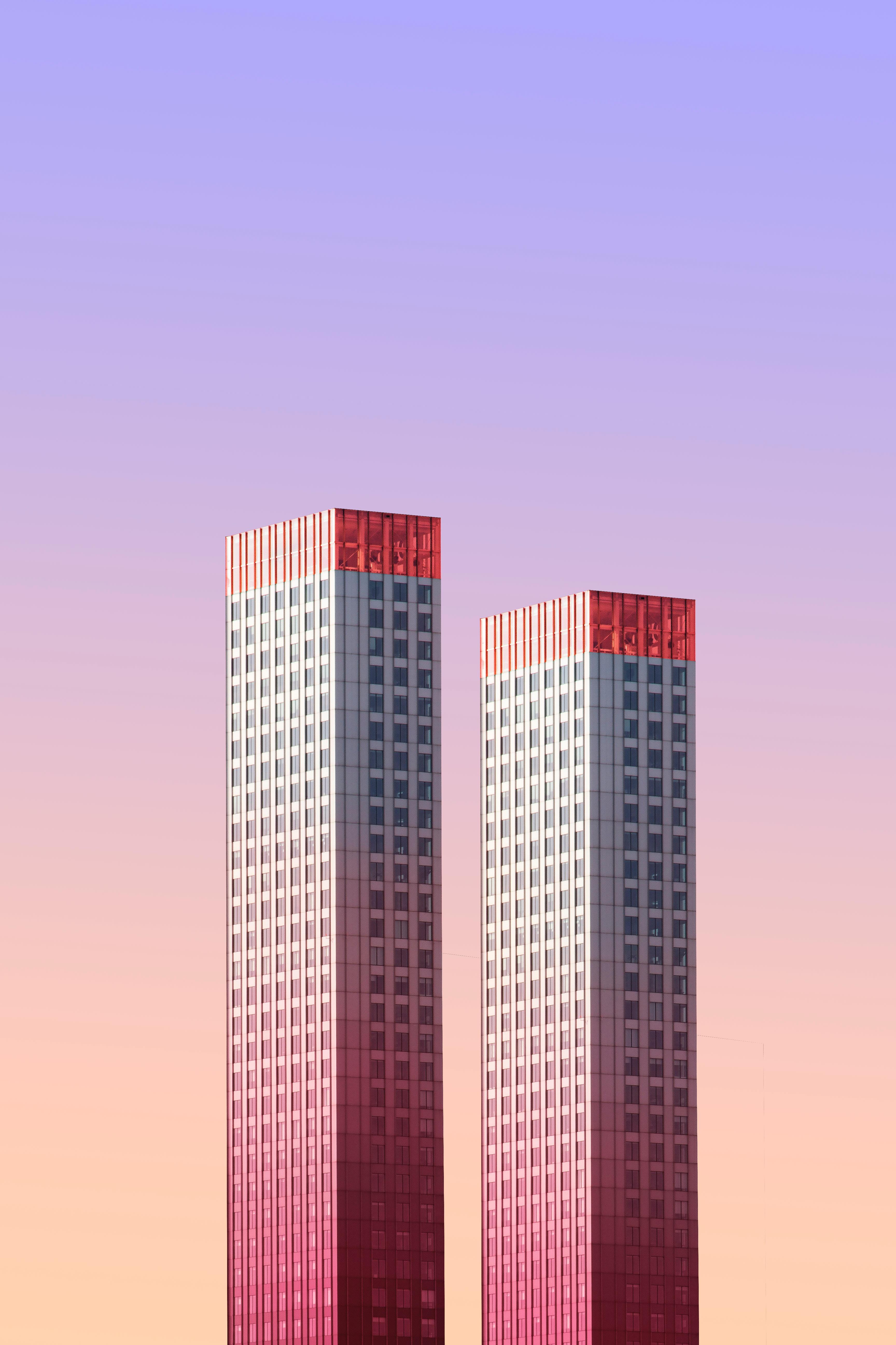 114507 Salvapantallas y fondos de pantalla Arquitectura en tu teléfono. Descarga imágenes de Minimalismo, Edificio, Cielo, Dos, Rascacielos, Rotterdam, Países Bajos, Arquitectura gratis