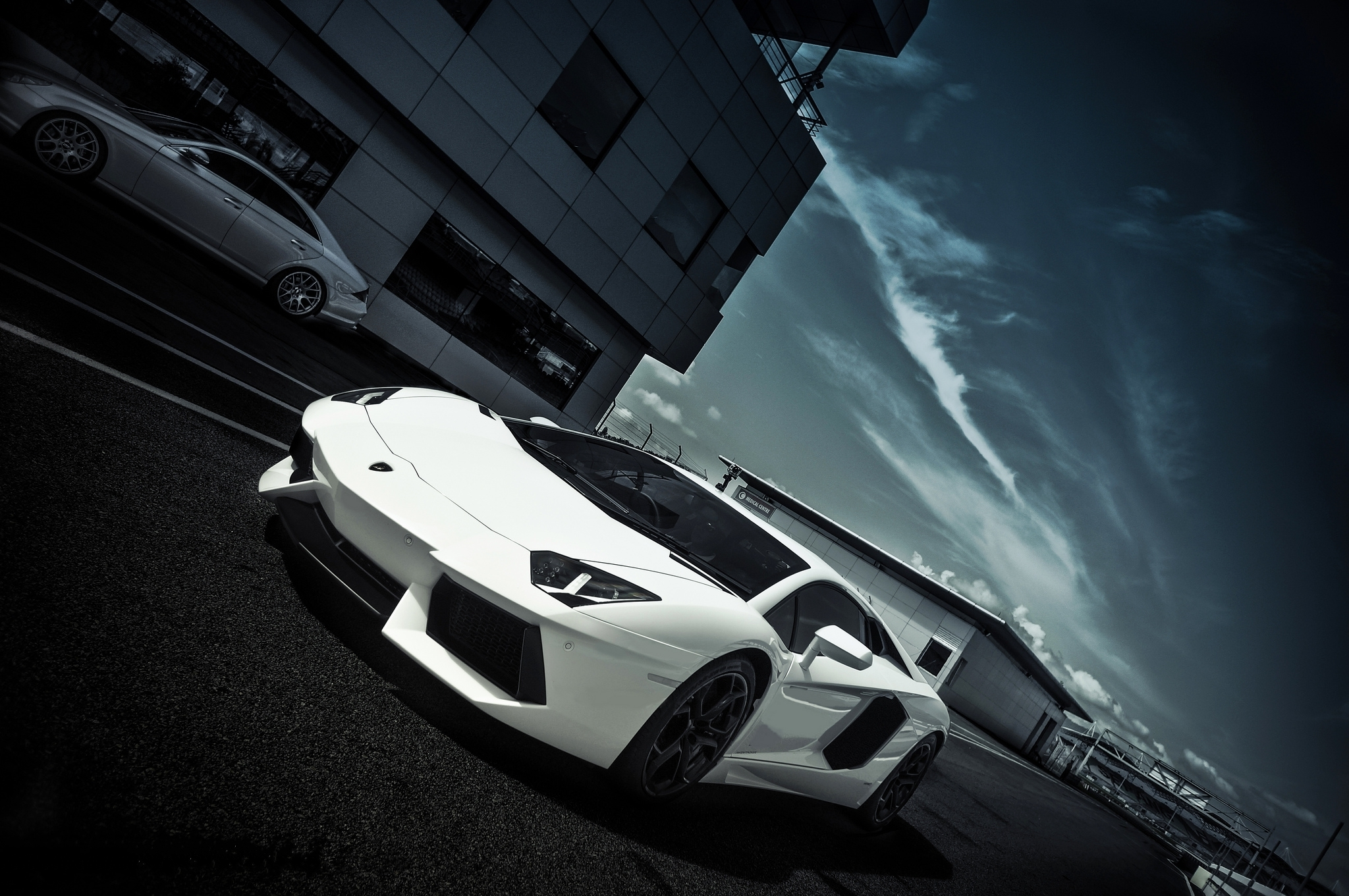147178 Screensavers and Wallpapers Windows for phone. Download Windows, Sky, Clouds, Lamborghini, Cars, Building, Road, Markup, Side View, Aventador, Lp700-4 pictures for free
