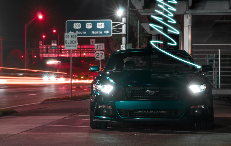 148239 скачать обои Тачки (Cars), Мустанг (Mustang), Машина, Спорткар, Вид Спереди, Темный - заставки и картинки бесплатно