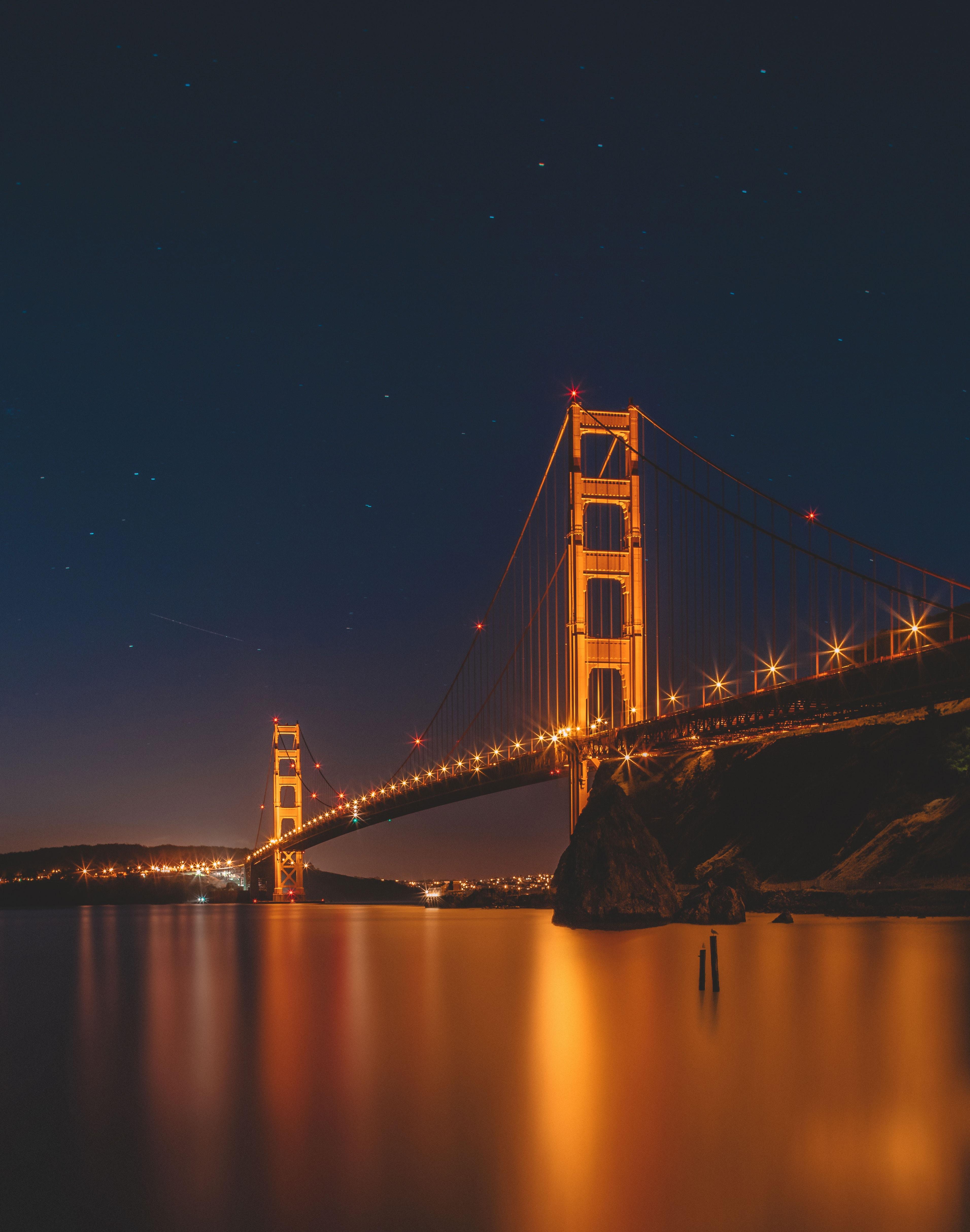 69082 скачать обои Города, Ночь, Огни Города, Мост, Сан-Франциско, Золотые Ворота - заставки и картинки бесплатно