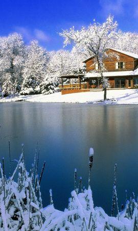 19515 скачать обои Пейзаж, Зима, Дома, Снег, Озера - заставки и картинки бесплатно