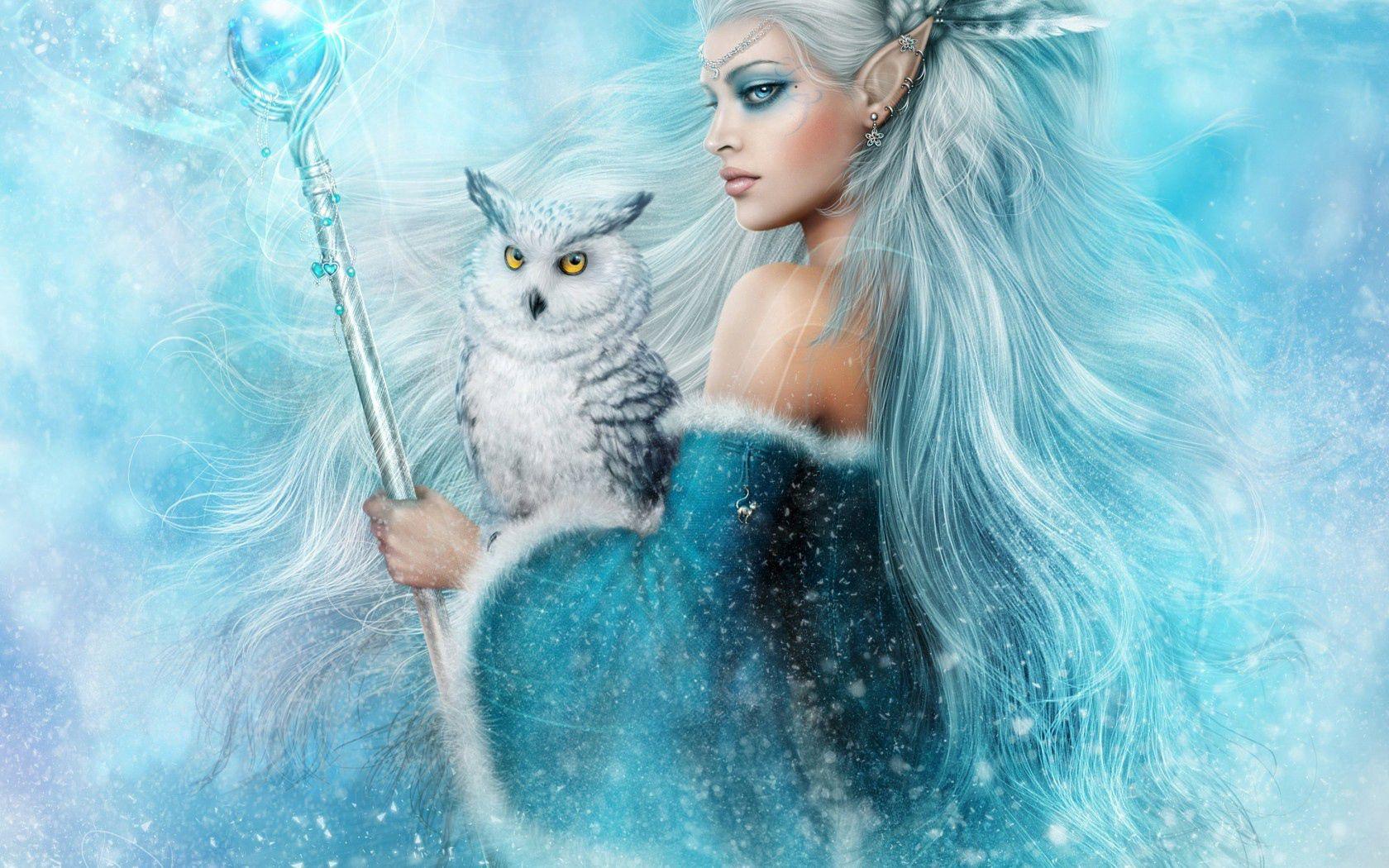 154587 Hintergrundbild herunterladen Fantasie, Magie, Mädchen, Eule, Elf - Bildschirmschoner und Bilder kostenlos