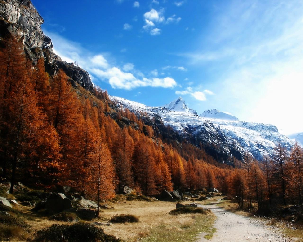 10858 скачать обои Пейзаж, Деревья, Небо, Дороги, Горы, Осень - заставки и картинки бесплатно