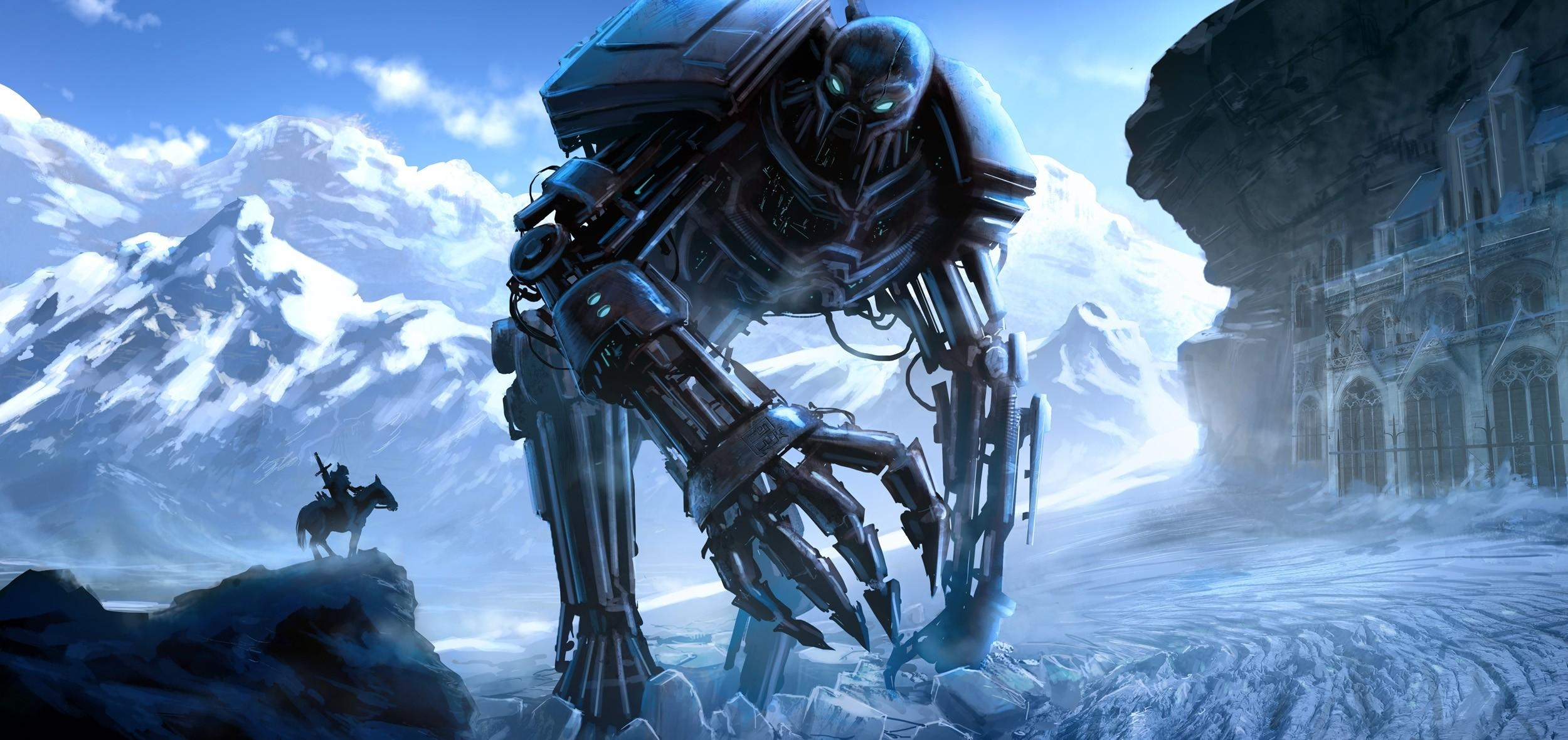 87518 Screensavers and Wallpapers Robot for phone. Download Fantasy, Mountains, Ice, Lock, Robot, Cyborg, Rider, Horseman pictures for free