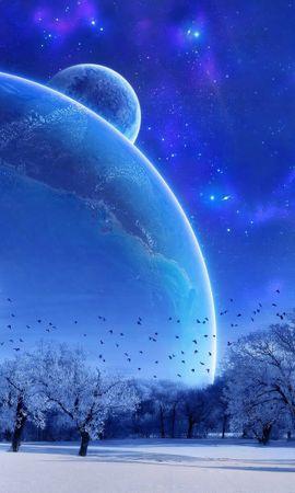 132241 télécharger le fond d'écran Abstrait, Nature, Hiver, Sky, Neige, Pleine Lune, Arbres, Soir, Paysage, Oiseaux - économiseurs d'écran et images gratuitement