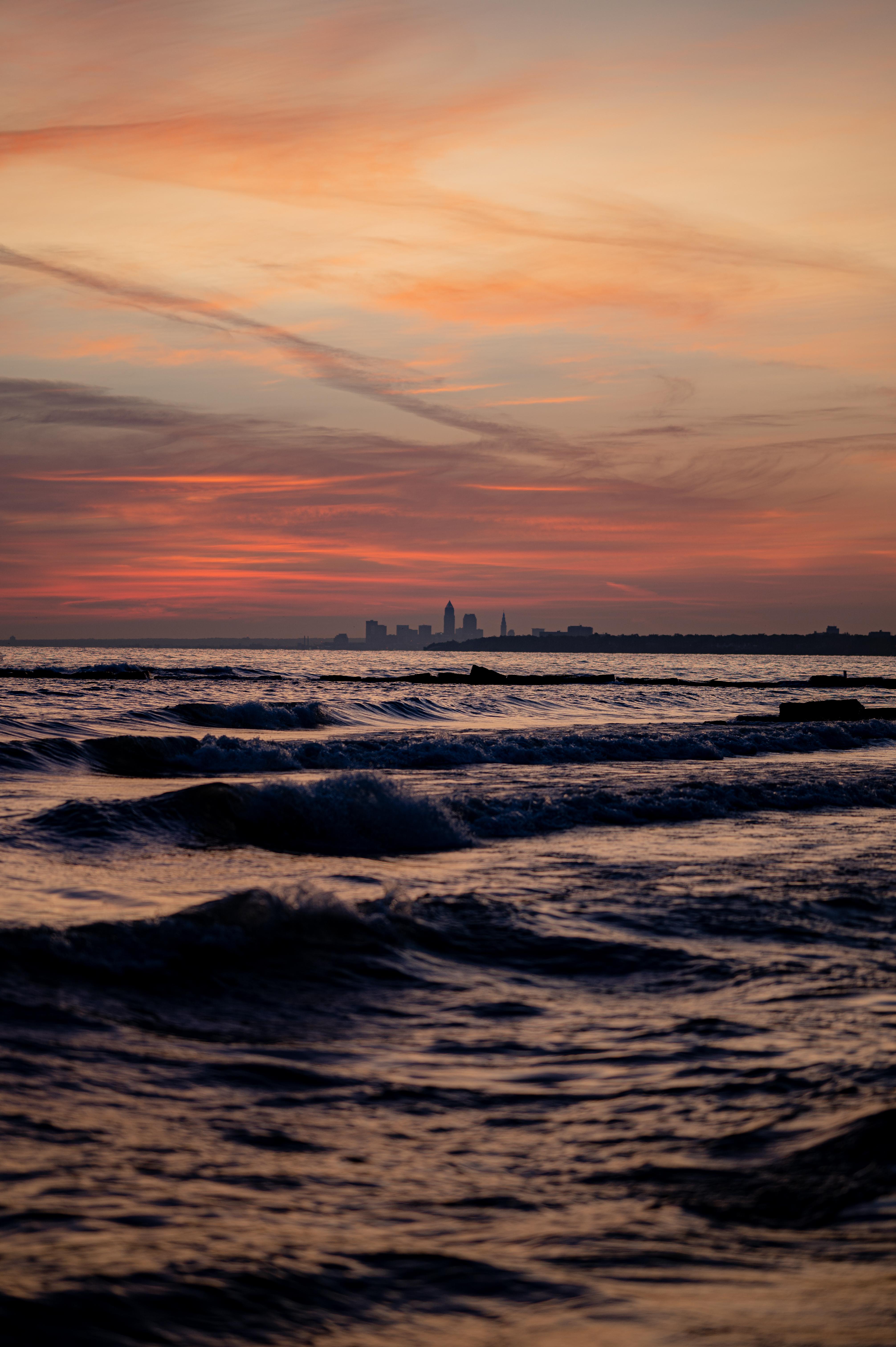 73650壁紙のダウンロード自然, 市, 都市, 日没, 地平線, 海, スカイ-スクリーンセーバーと写真を無料で