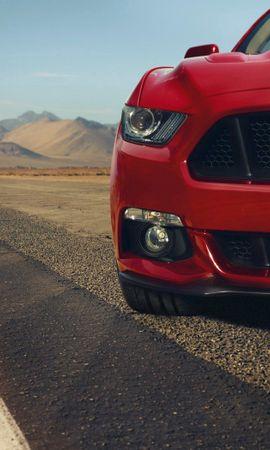 109194 скачать Красные обои на телефон бесплатно, Форд (Ford), Мустанг (Mustang), Тачки (Cars), Красный, Gt, Muscle Car, Мускул Кар, Front, Перед Красные картинки и заставки на мобильный