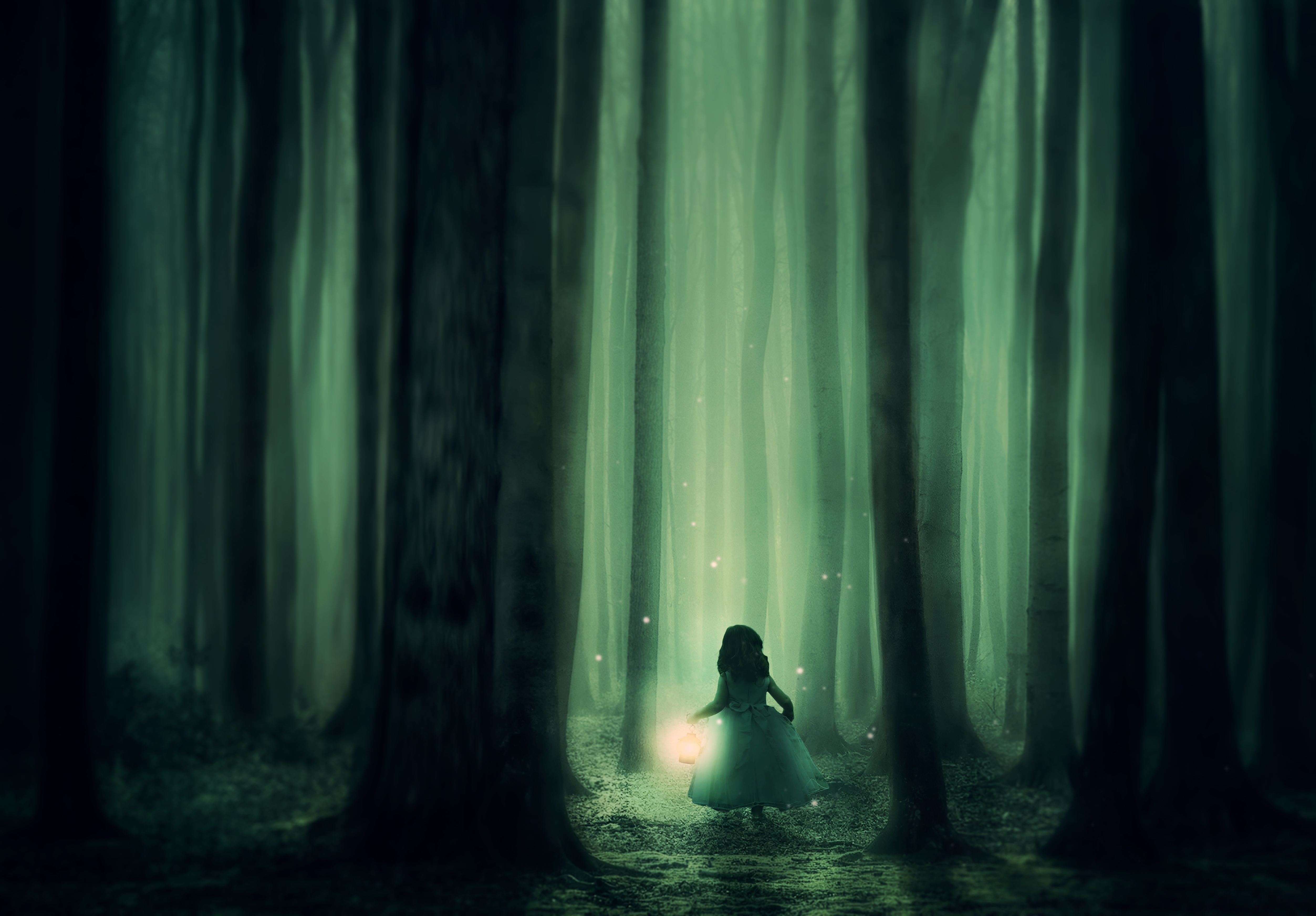 120238 download wallpaper Dark, Child, Forest, Fog, Night, Fairy, Fabulous, Lamp, Lantern, Stroll screensavers and pictures for free