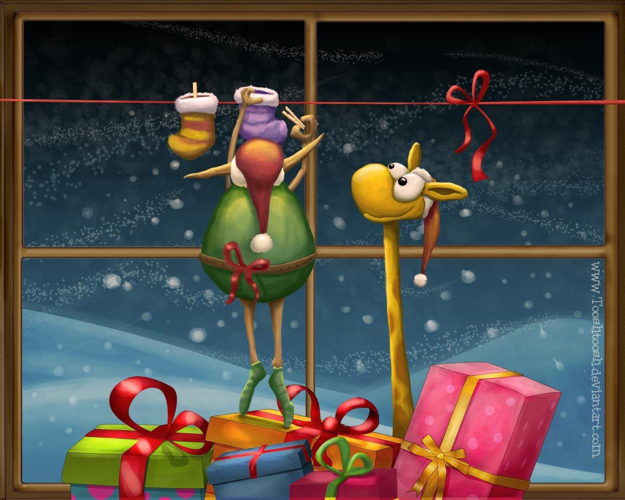 131922 免費下載壁紙 假期, 新年, 圣诞节, 长颈鹿, 礼物, 礼品, 窗户, 窗口 屏保和圖片