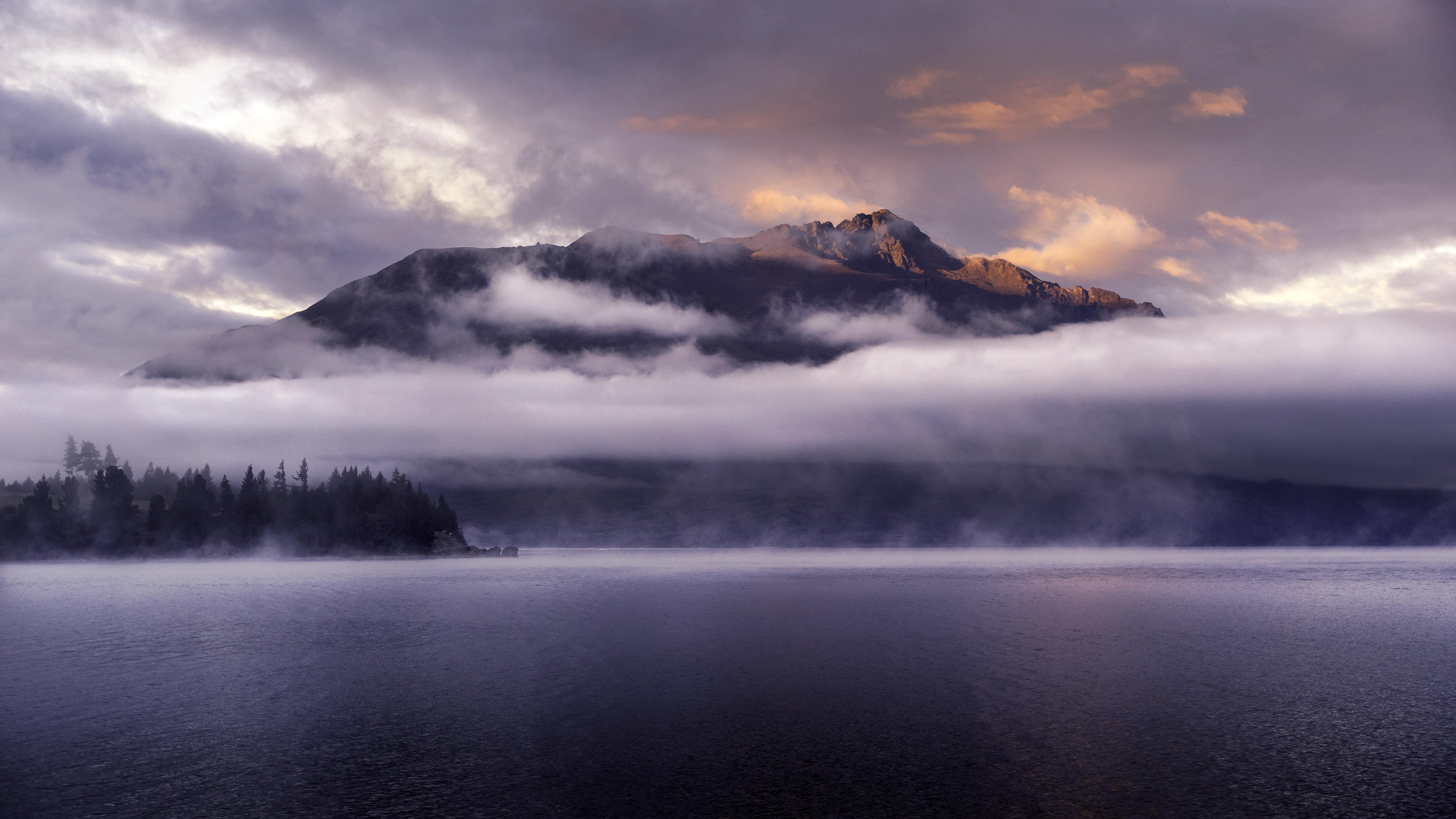 63076 Screensavers and Wallpapers New Zealand for phone. Download Nature, Mountains, Clouds, Vertex, Lake, New Zealand, Fog, Tops, Queenstown pictures for free
