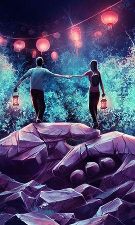 127895 скачать обои Любовь, Пара, Лампы, Скалы, Руки, Арт - заставки и картинки бесплатно