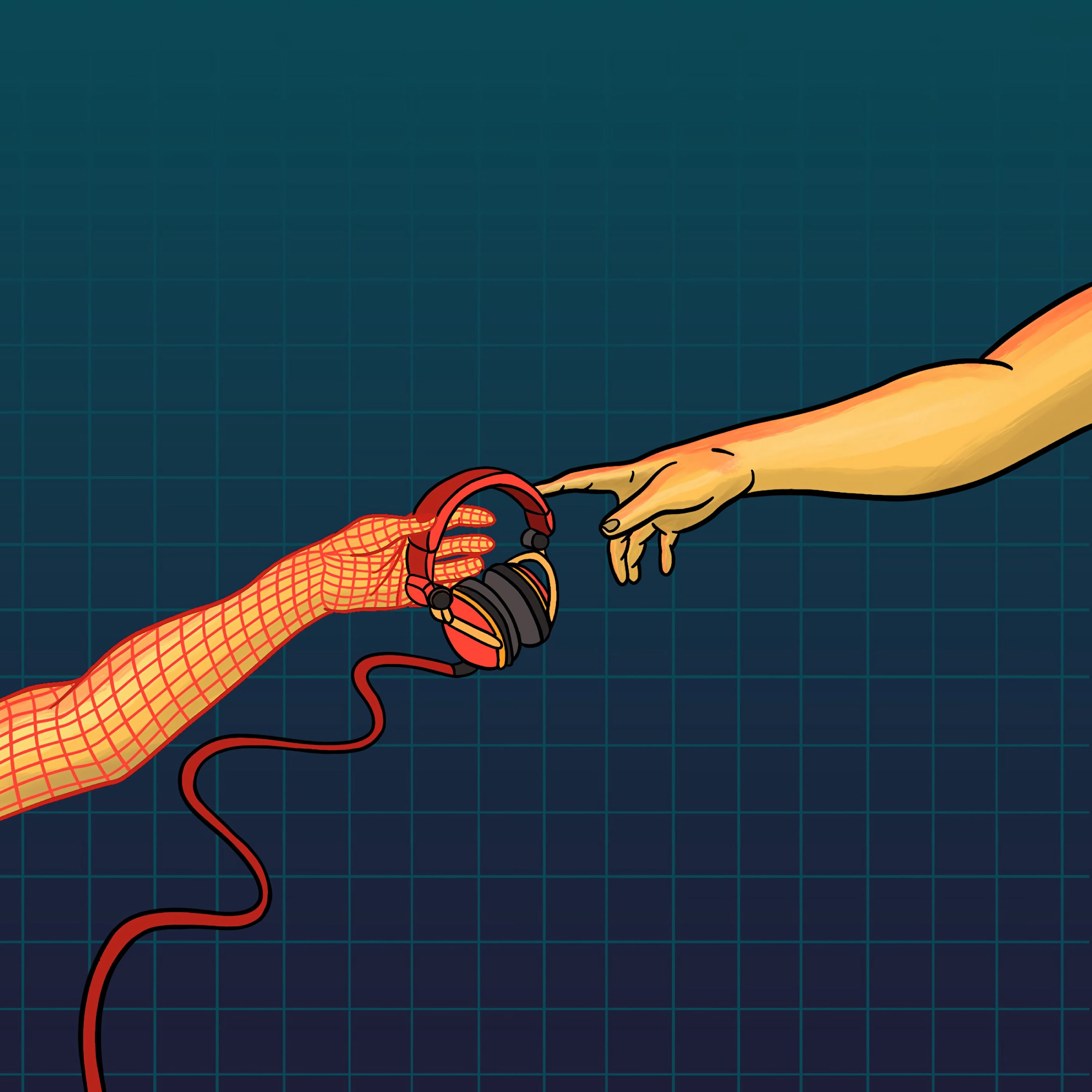 55579 download wallpaper Vector, Hands, Headphones, Touching, Touch, Music screensavers and pictures for free