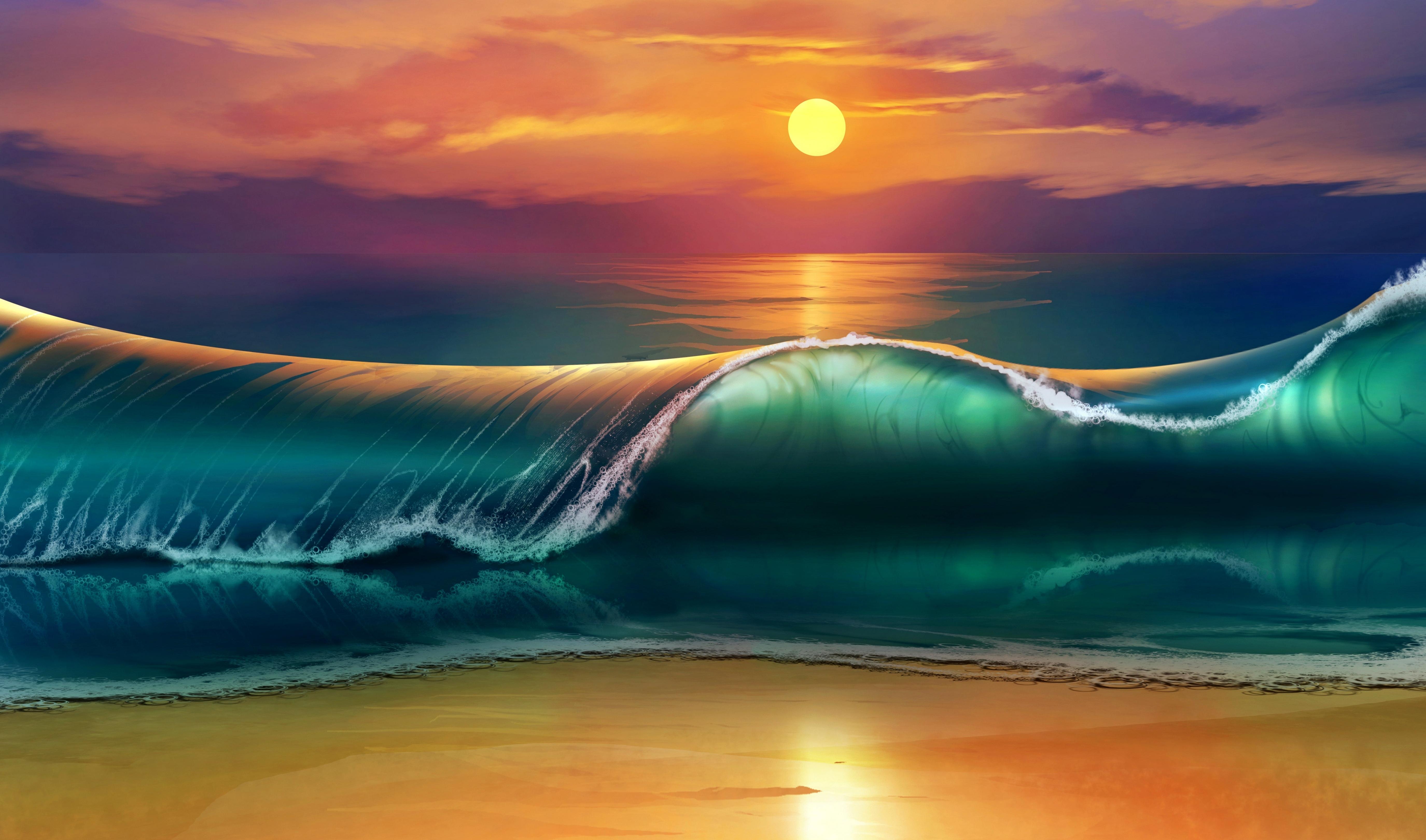 108888 Заставки и Обои Волны на телефон. Скачать Арт, Закат, Пляж, Море, Волны картинки бесплатно