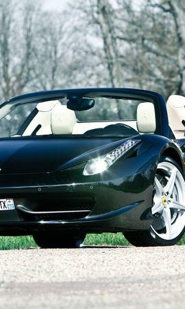 151953 télécharger le fond d'écran Voitures, Ferrari, 458, Italie, Italia, Cabriolet, Le Noir, Vue De Face - économiseurs d'écran et images gratuitement