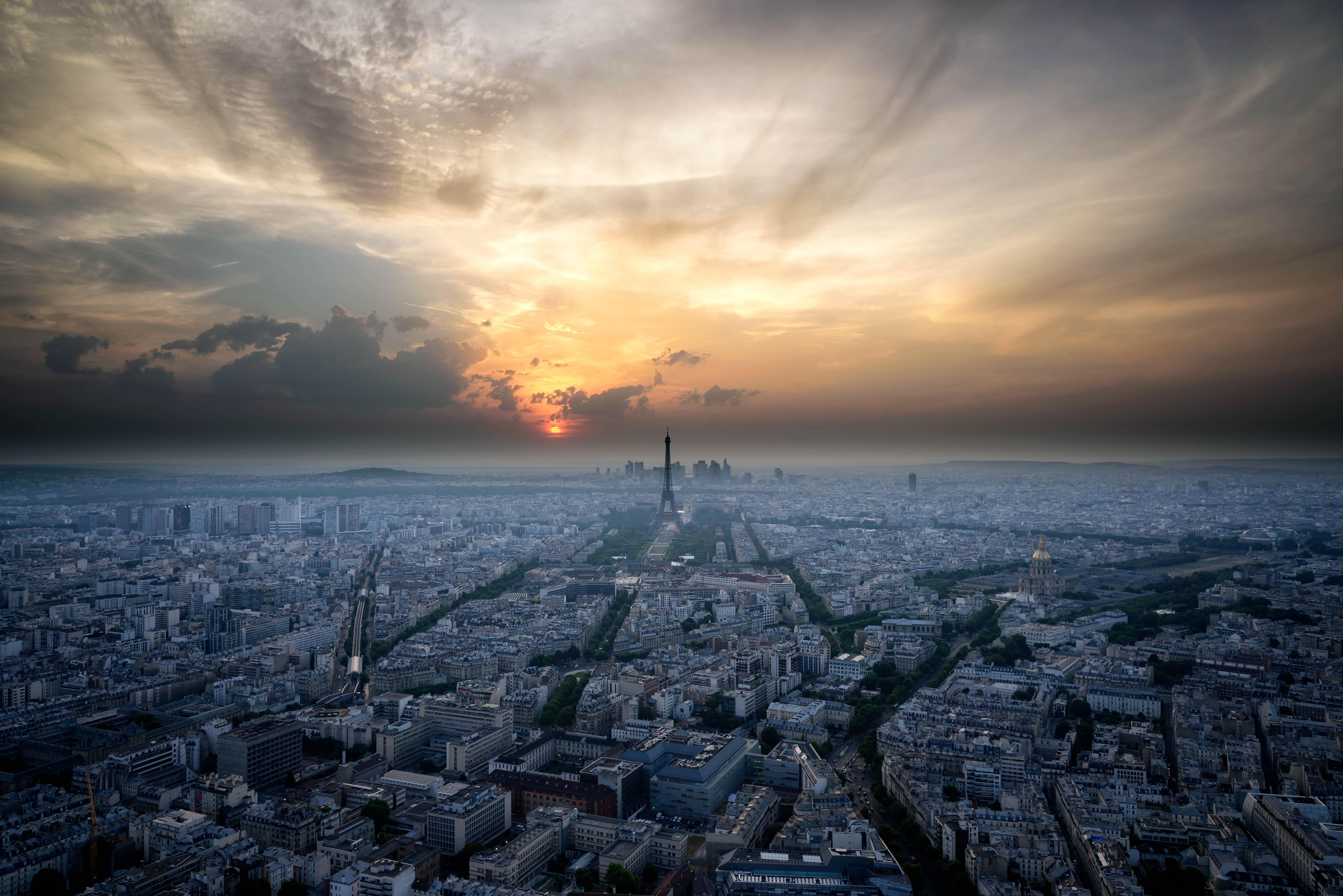 124140壁紙のダウンロードパリ, フランス, 日没, スカイ, 上から見る, アーキテクチャ, 都市-スクリーンセーバーと写真を無料で