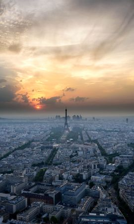 124140 baixar papel de parede Paris, França, Pôr Do Sol, Céu, Vista De Cima, Ver De Cima, Arquitetura, Cidades - protetores de tela e imagens gratuitamente