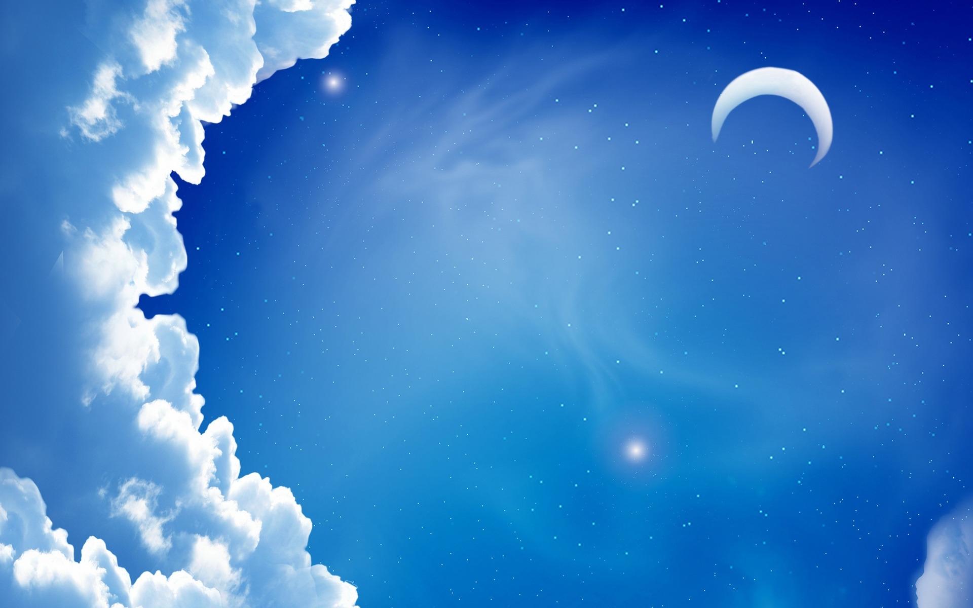 24530 免費下載壁紙 天空, 星级, 云, 月球, 图片 屏保和圖片