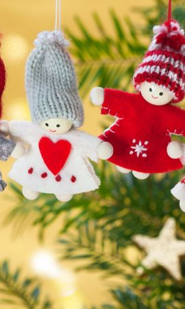 121515 скачать обои Праздники, Рождество, Игрушки, Ветка, Ангелы - заставки и картинки бесплатно