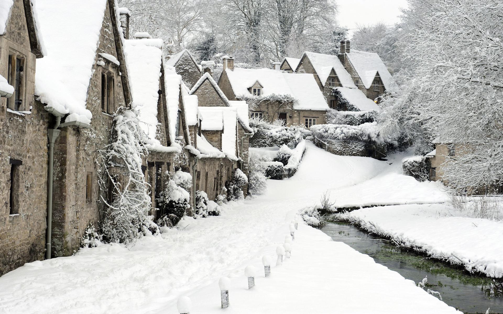 14372 скачать обои Пейзаж, Зима, Дома, Река, Снег - заставки и картинки бесплатно