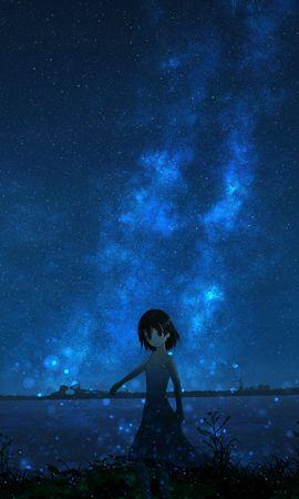 103582 скачать обои Девушка, Ночь, Звездное Небо, Аниме - заставки и картинки бесплатно