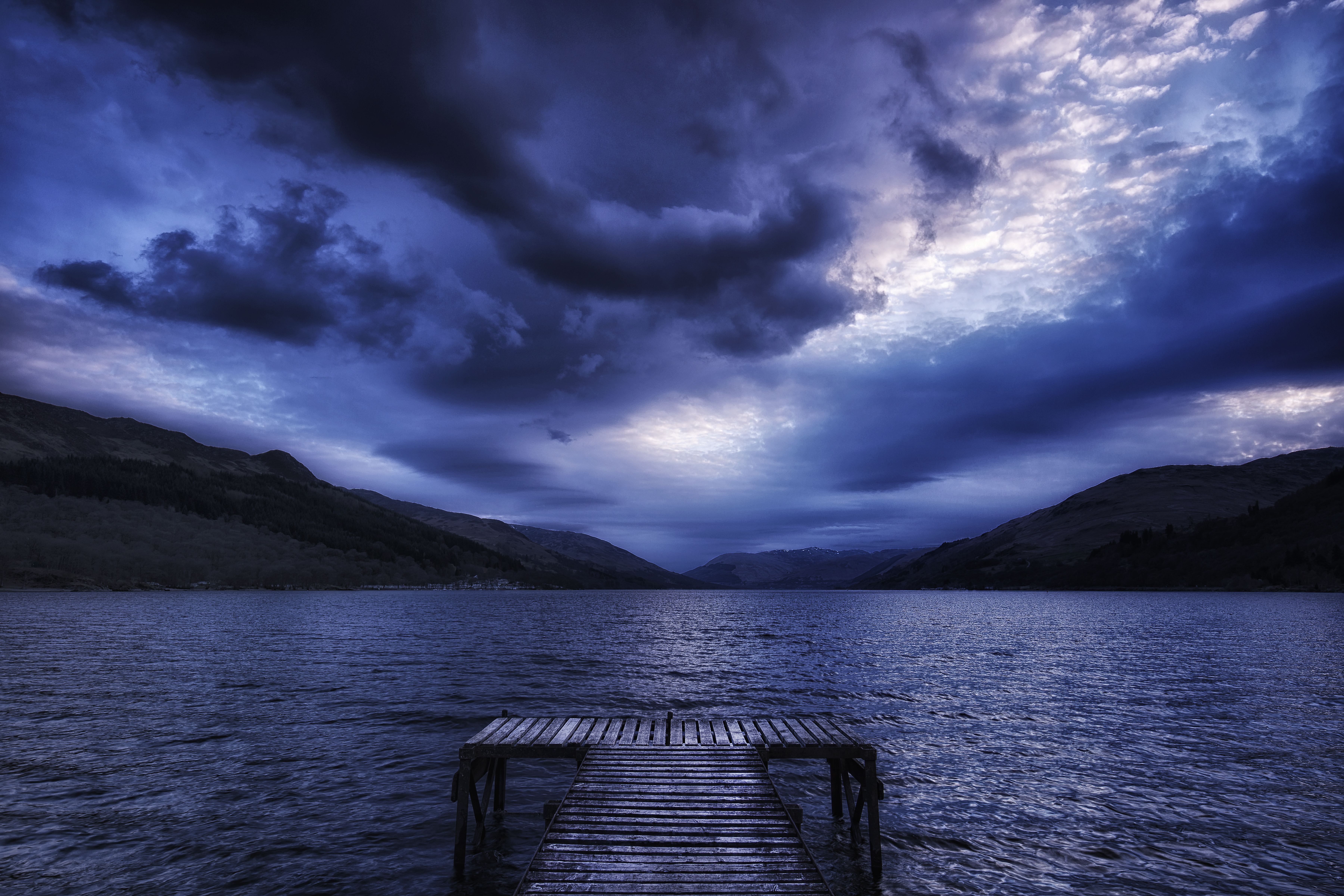 64140 download wallpaper Nature, Mountains, Sea, Clouds, Pier, Evening, Scotland, Mainly Cloudy, Overcast screensavers and pictures for free