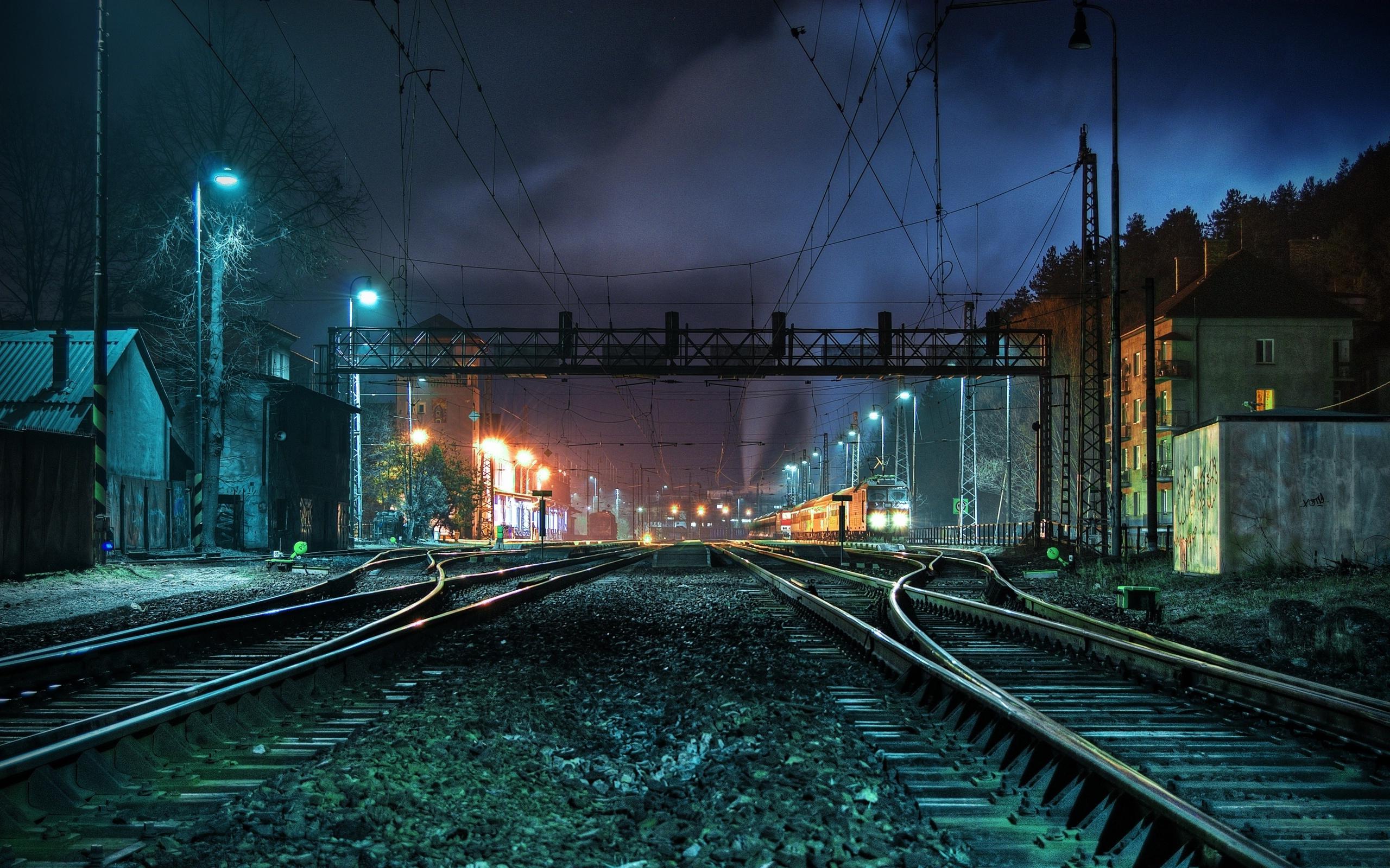 41375壁紙のダウンロード風景, ナイト, 列車-スクリーンセーバーと写真を無料で