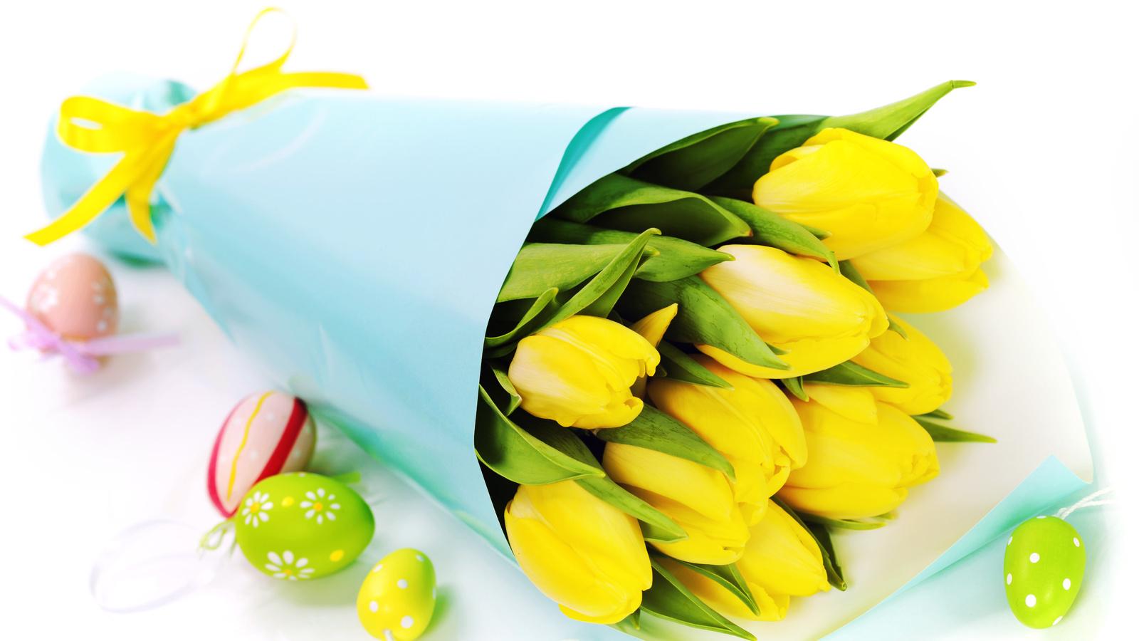 18737 скачать обои Праздники, Цветы, Фон, Пасха, Тюльпаны, Букеты - заставки и картинки бесплатно