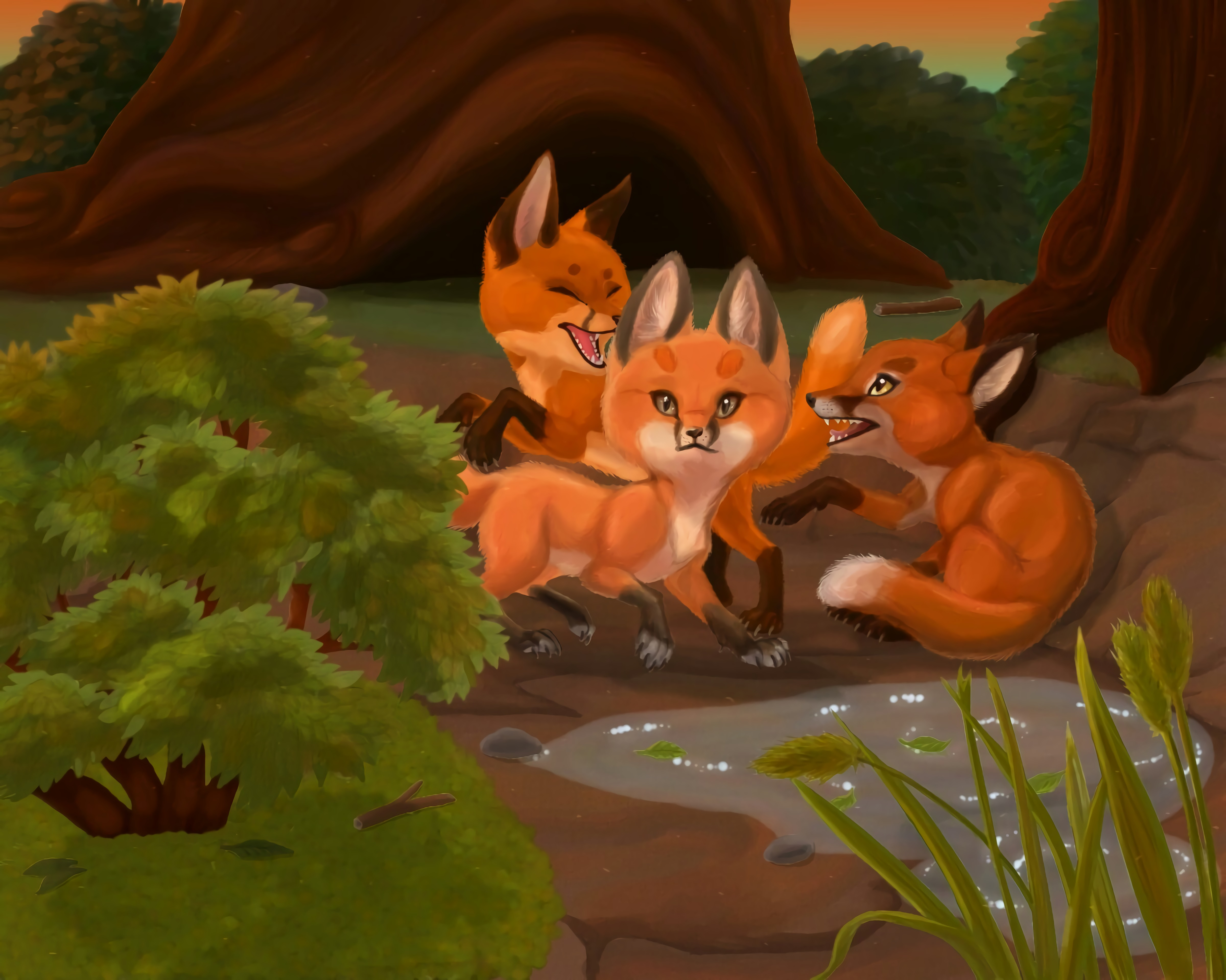 112804 download wallpaper Game, Wildlife, Art, Fox, Animals screensavers and pictures for free