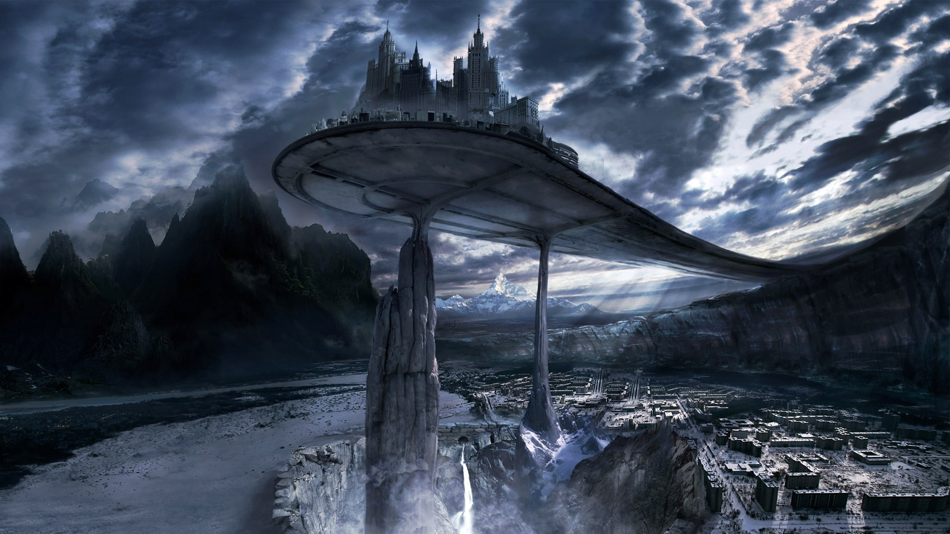 7452 скачать обои Облака, Замки, Фэнтези, Небо, Ночь - заставки и картинки бесплатно