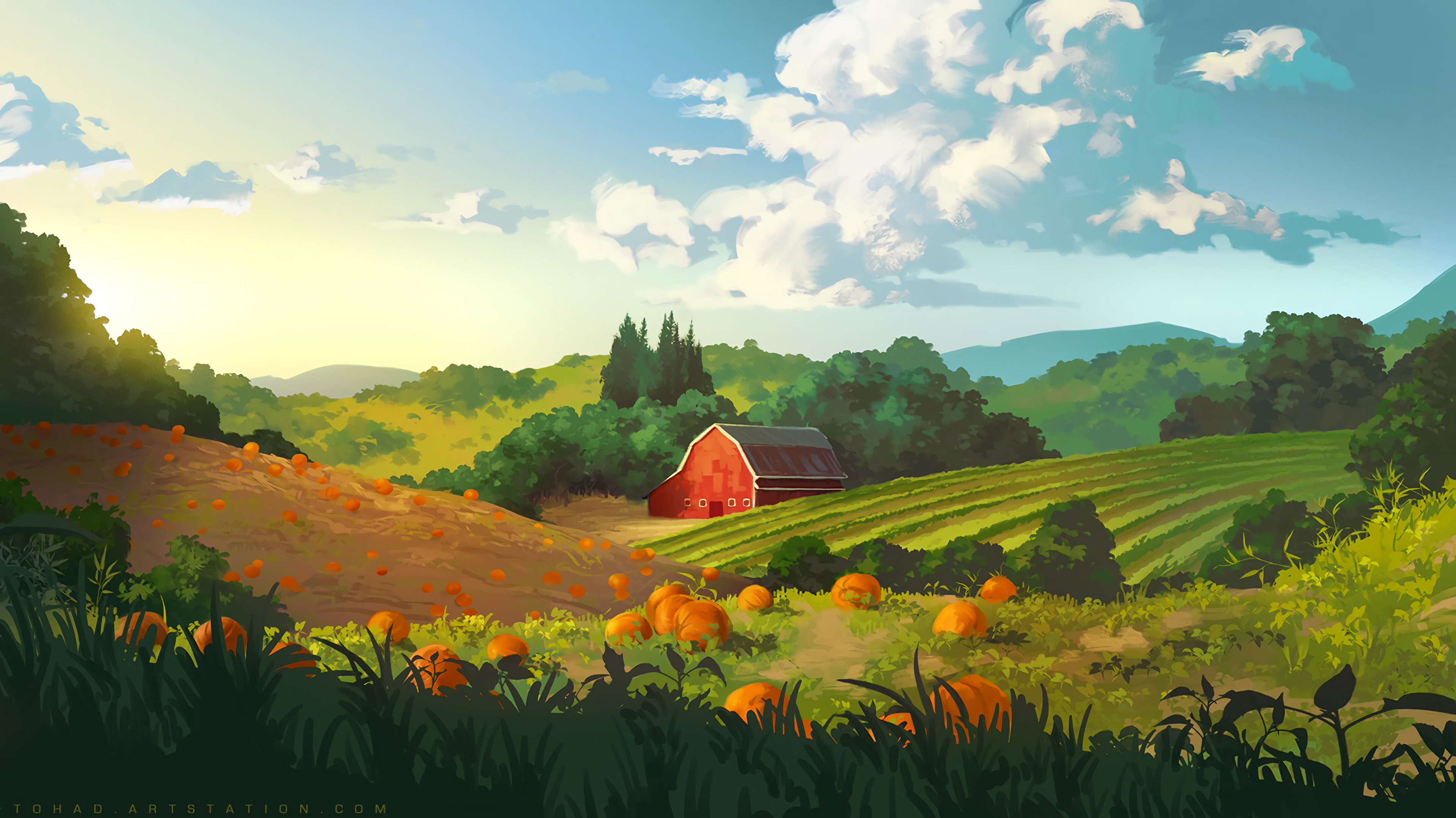 130934 download wallpaper Art, Pumpkin, Building, Field, Hills screensavers and pictures for free