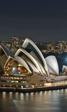 87454 Заставки и Обои Река на телефон. Скачать Австралия, Вечер, Опера, Театр, Река, Достопримечательность, Города картинки бесплатно