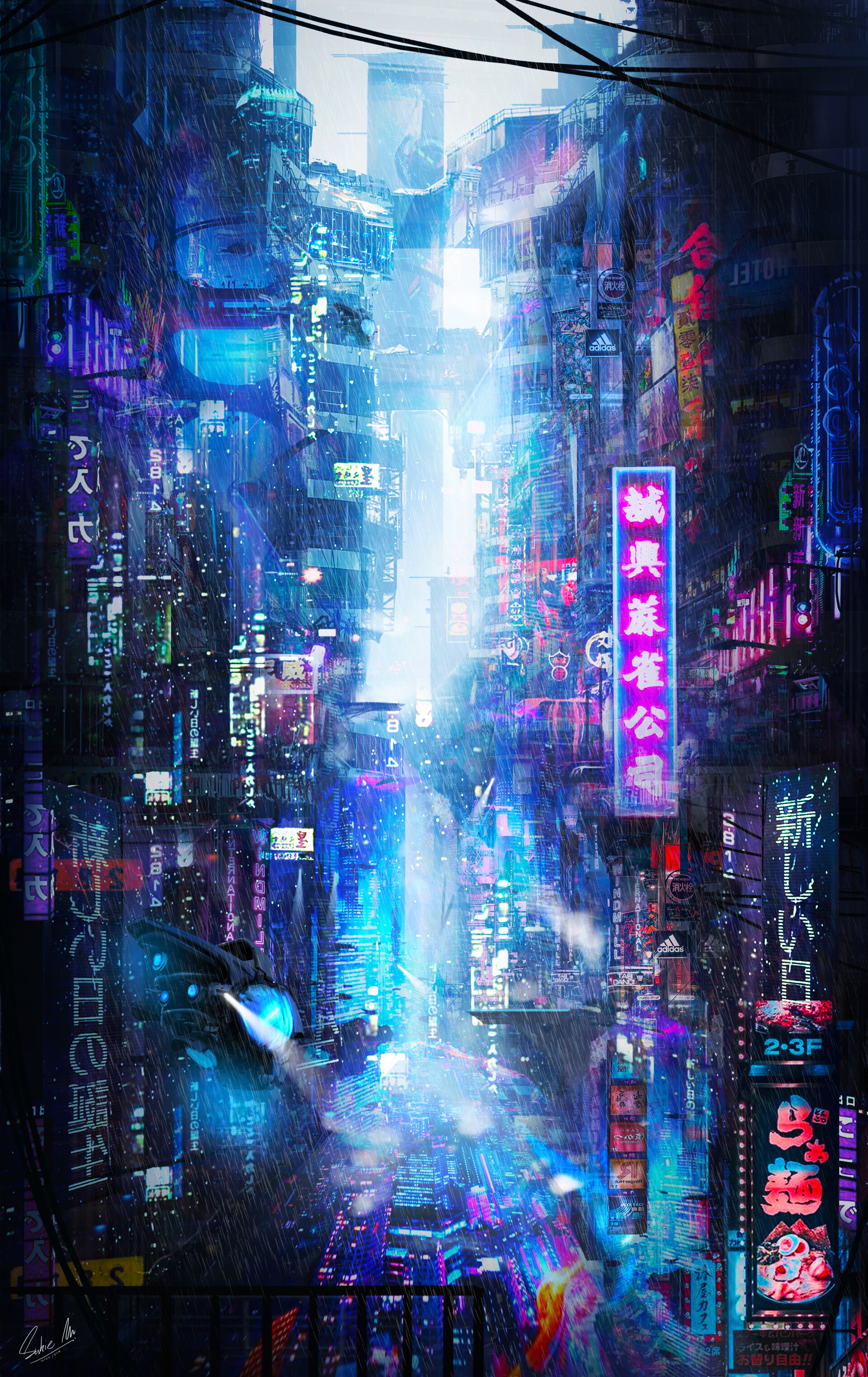128775 download wallpaper Neon, Art, Rain, City, Future screensavers and pictures for free