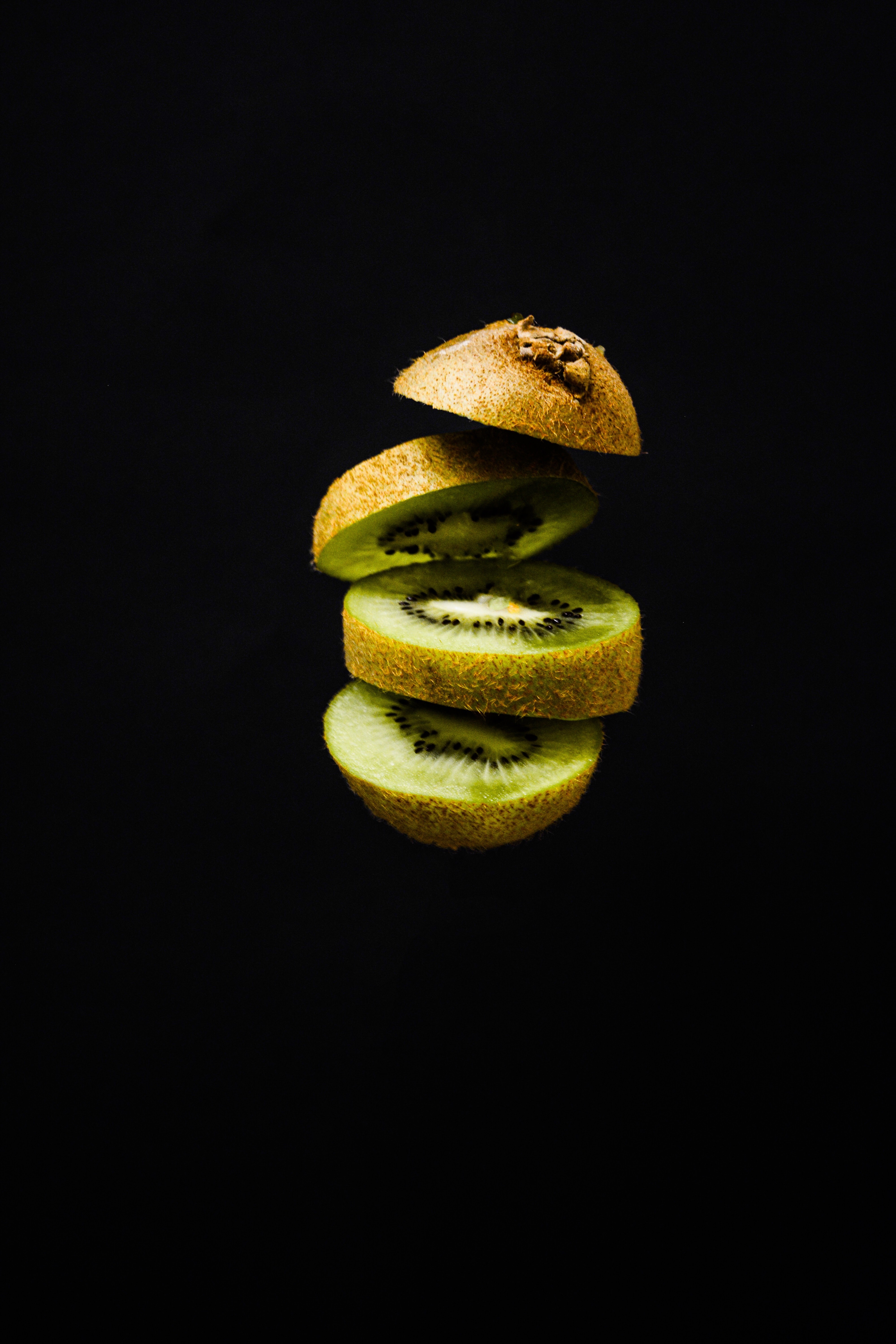 69804 download wallpaper Food, Kiwi, Fruit, Black Background screensavers and pictures for free