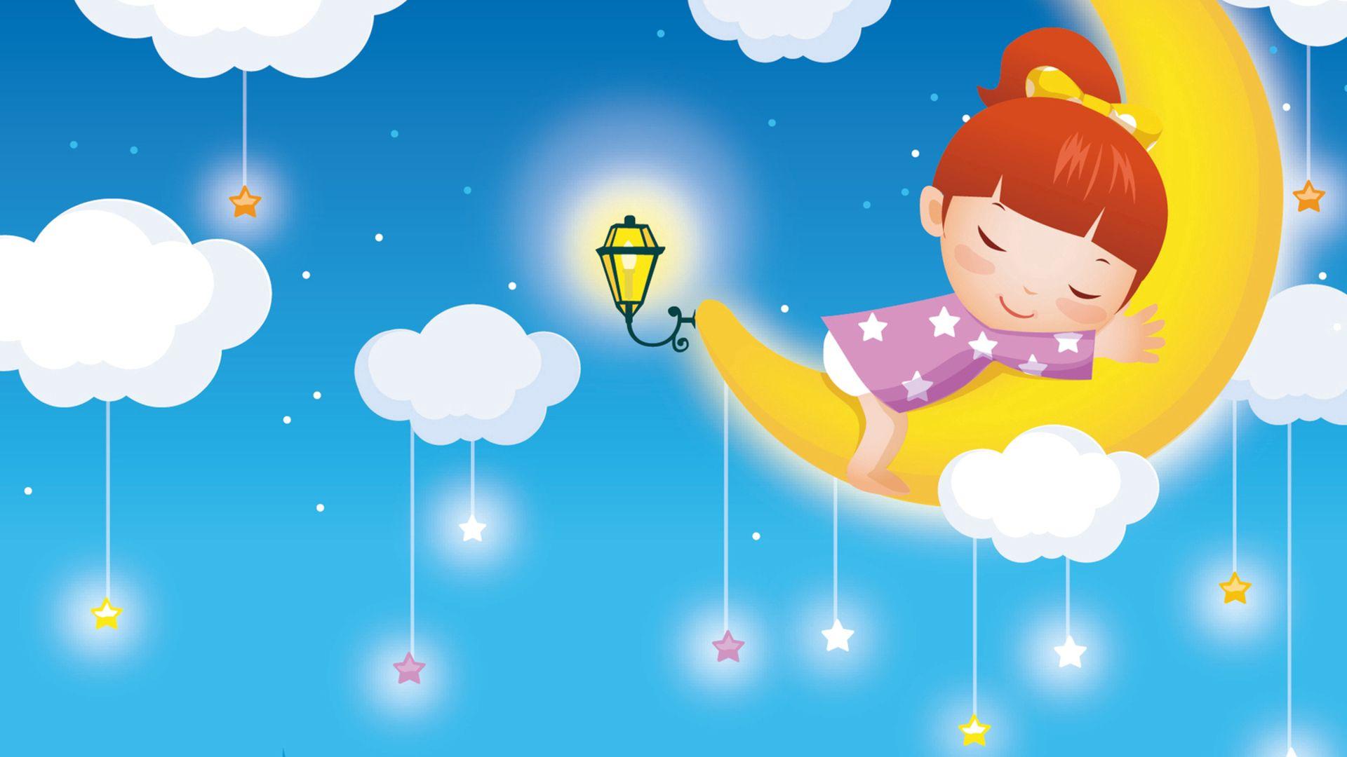 90108 скачать обои Разное, Луна, Девочка, Небо, Сон, Детство, Фонарь, Звезды - заставки и картинки бесплатно