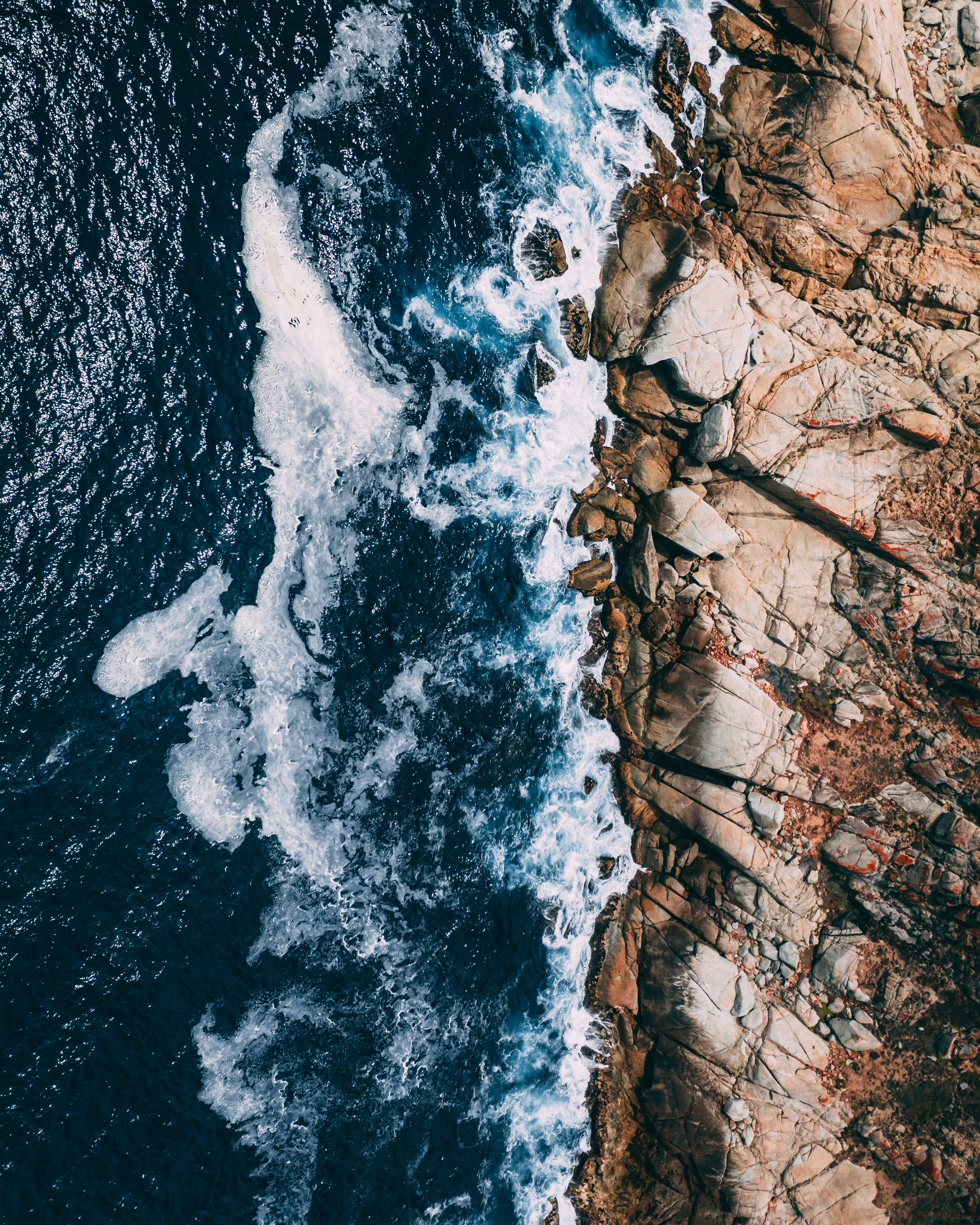141501 Screensavers and Wallpapers Ocean for phone. Download Ocean, Surf, Nature, Stones, Waves, View From Above, Foam pictures for free