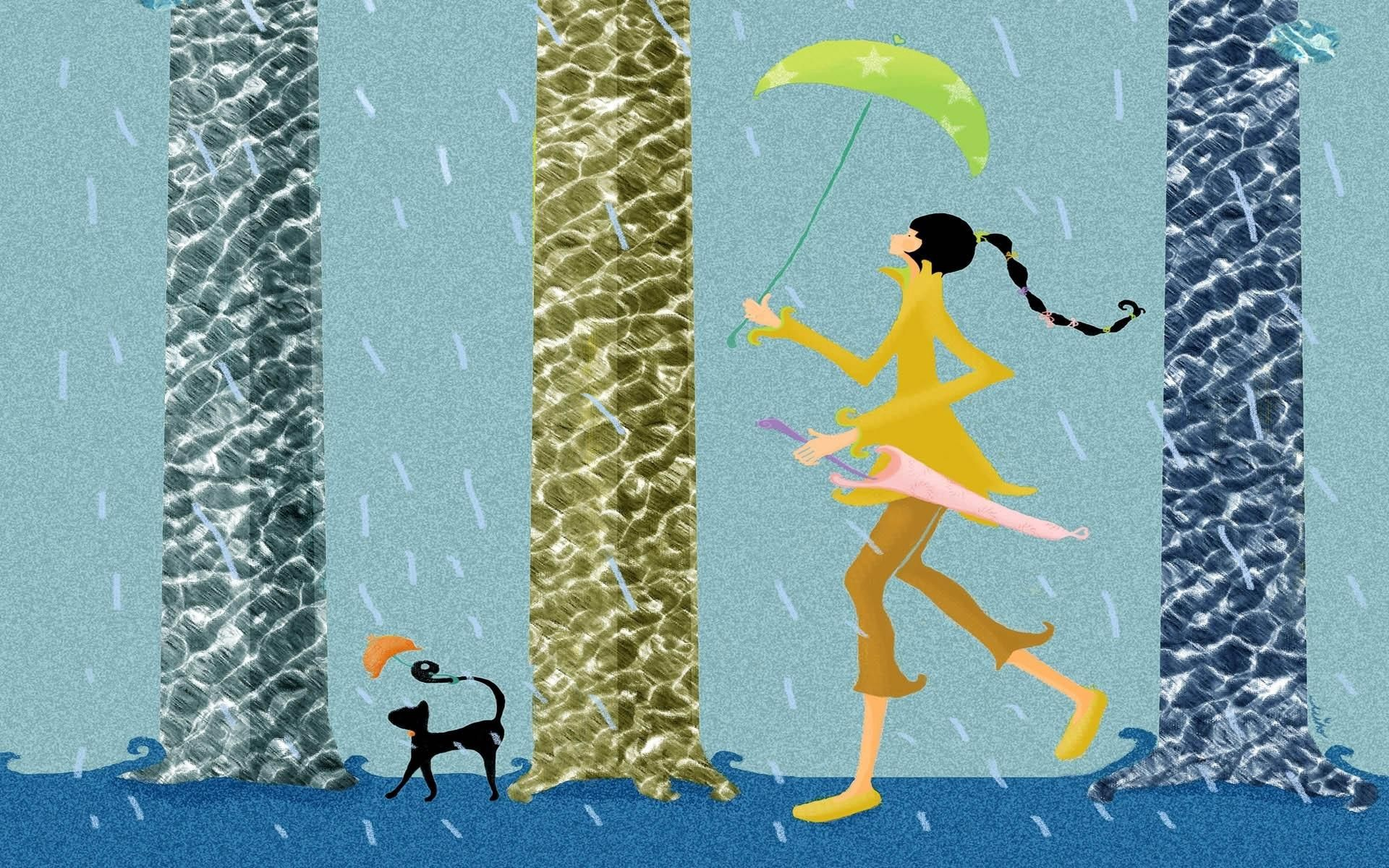 108386 download wallpaper Vector, Girl, Stroll, Pet, Rain, Umbrella screensavers and pictures for free