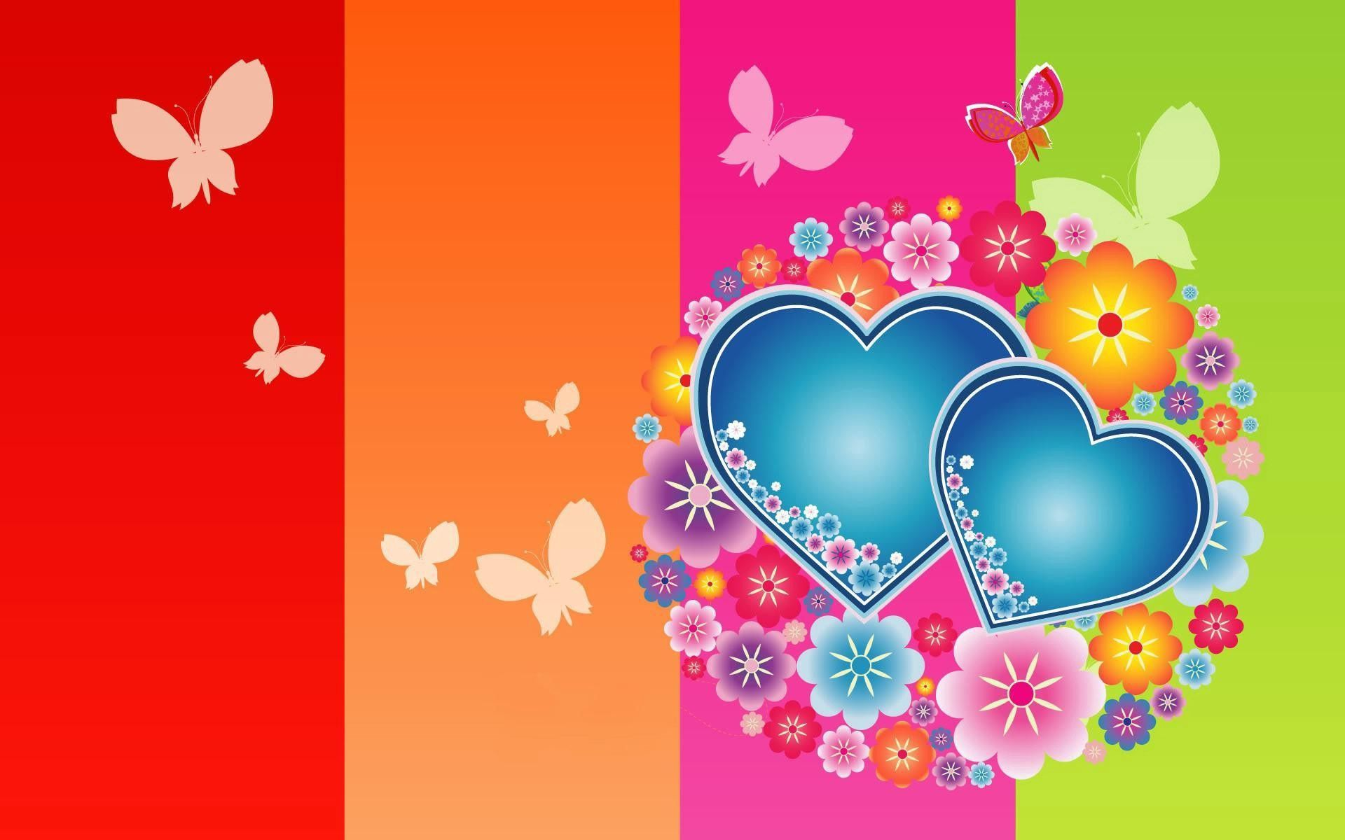 122758 download wallpaper Love, Butterflies, Multicolored, Motley, Hearts screensavers and pictures for free