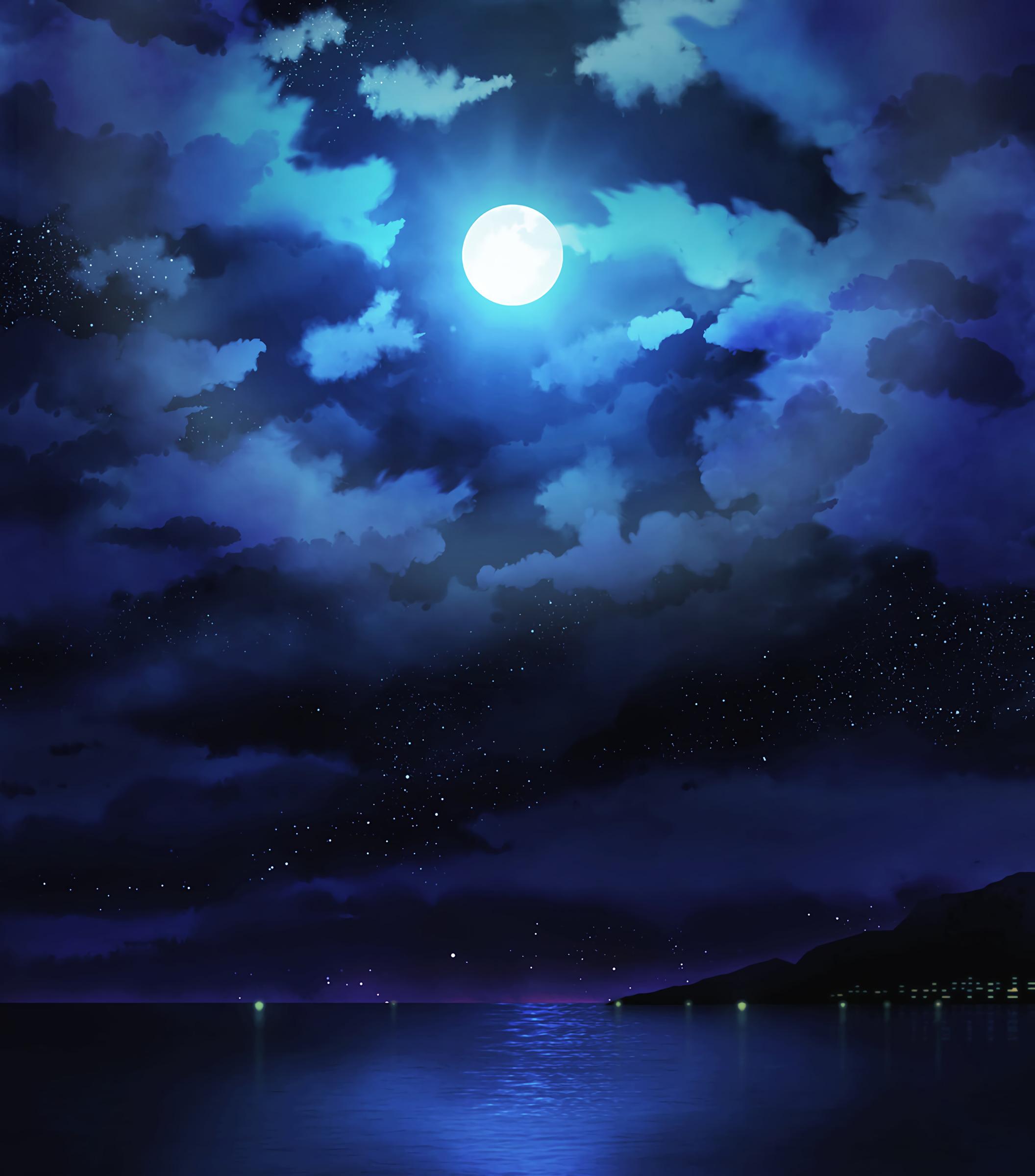 92118 papel de parede 1080x2400 em seu telefone gratuitamente, baixe imagens Arte, Mar, Estrelas, Noite, Nuvens, Lua, Horizonte 1080x2400 em seu celular