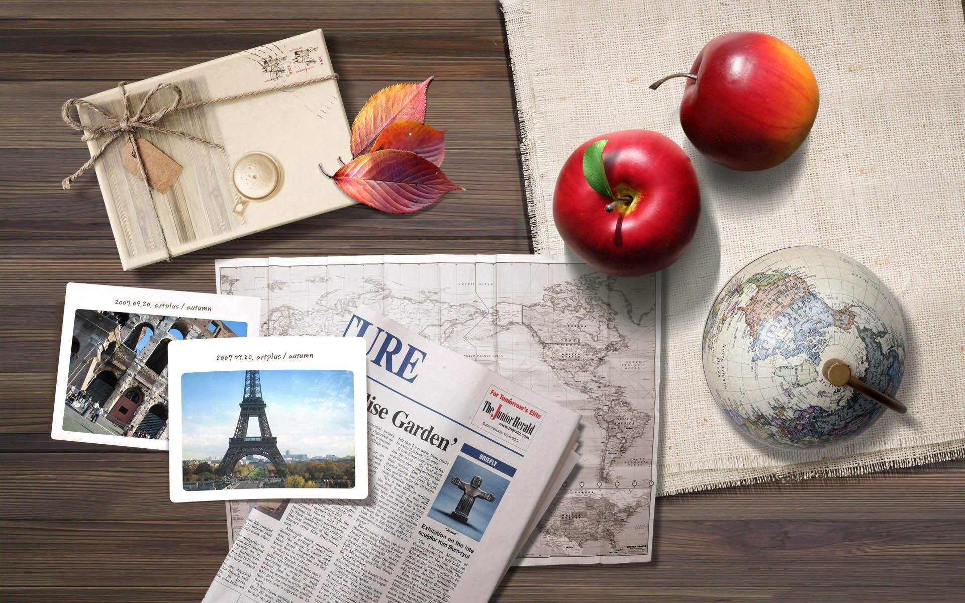 106867 download wallpaper Apple, Pictures, Miscellanea, Miscellaneous, Journey, Table, Photos, Photographs screensavers and pictures for free