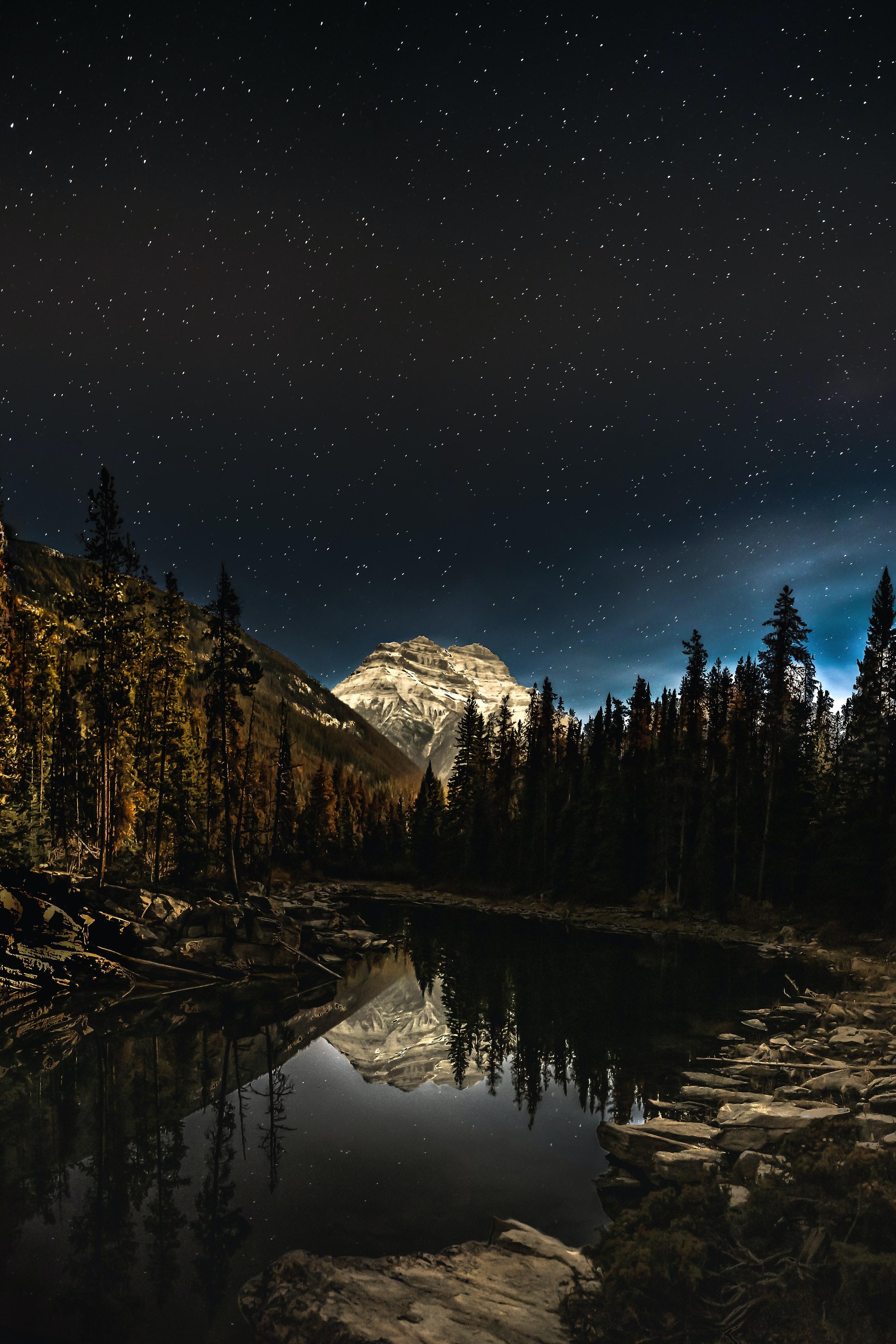 126937 скачать обои Пейзаж, Природа, Ночь, Гора, Озеро, Лес - заставки и картинки бесплатно