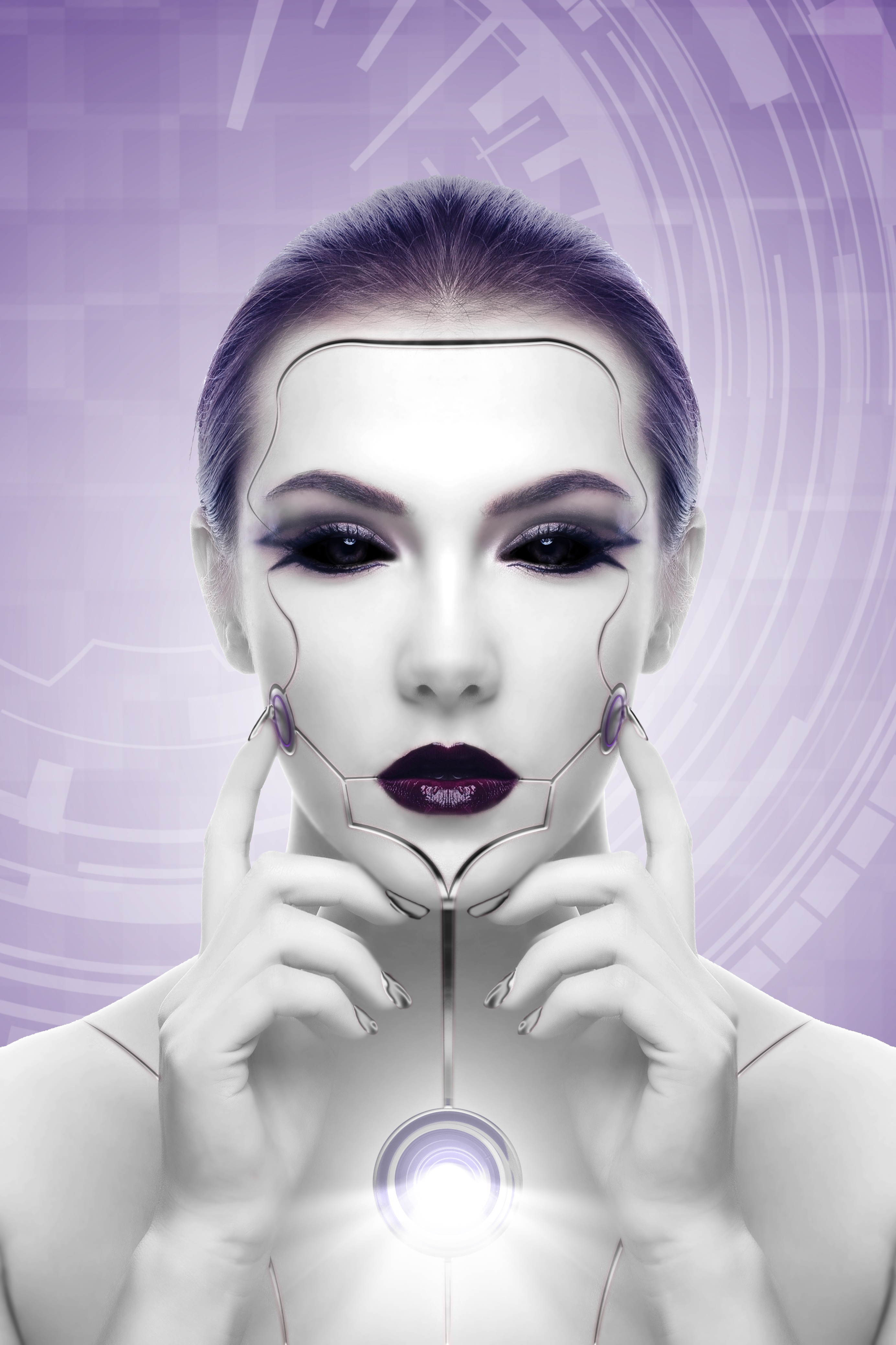 114924 Screensavers and Wallpapers Robot for phone. Download 3D, Futurism, Girl, Robot, Cyborg, Face pictures for free