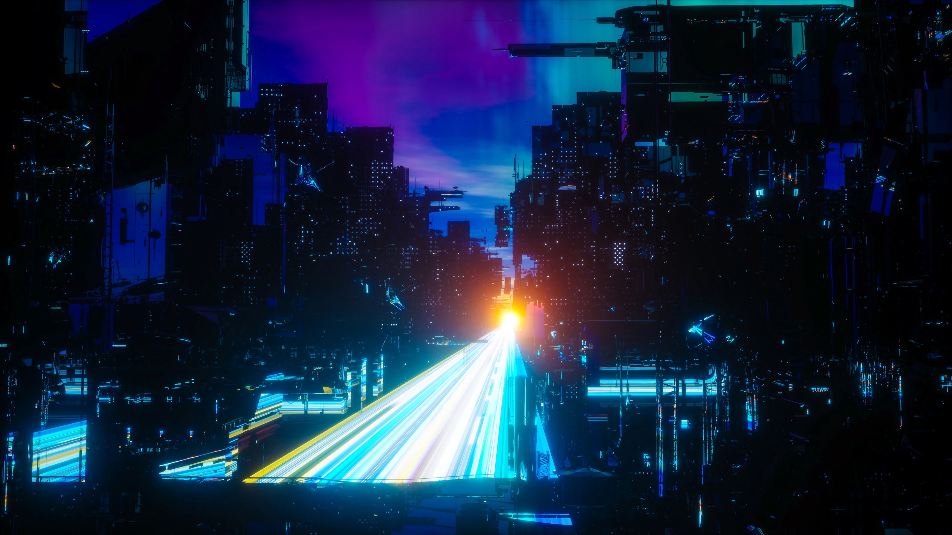 129185 Screensavers and Wallpapers Sci-Fi for phone. Download Art, Night, City, Bridge, Neon, Sci-Fi, Megastructures pictures for free