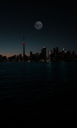 56505 Screensavers and Wallpapers Dark for phone. Download Dark, City, Night, Moon, Building, Water pictures for free
