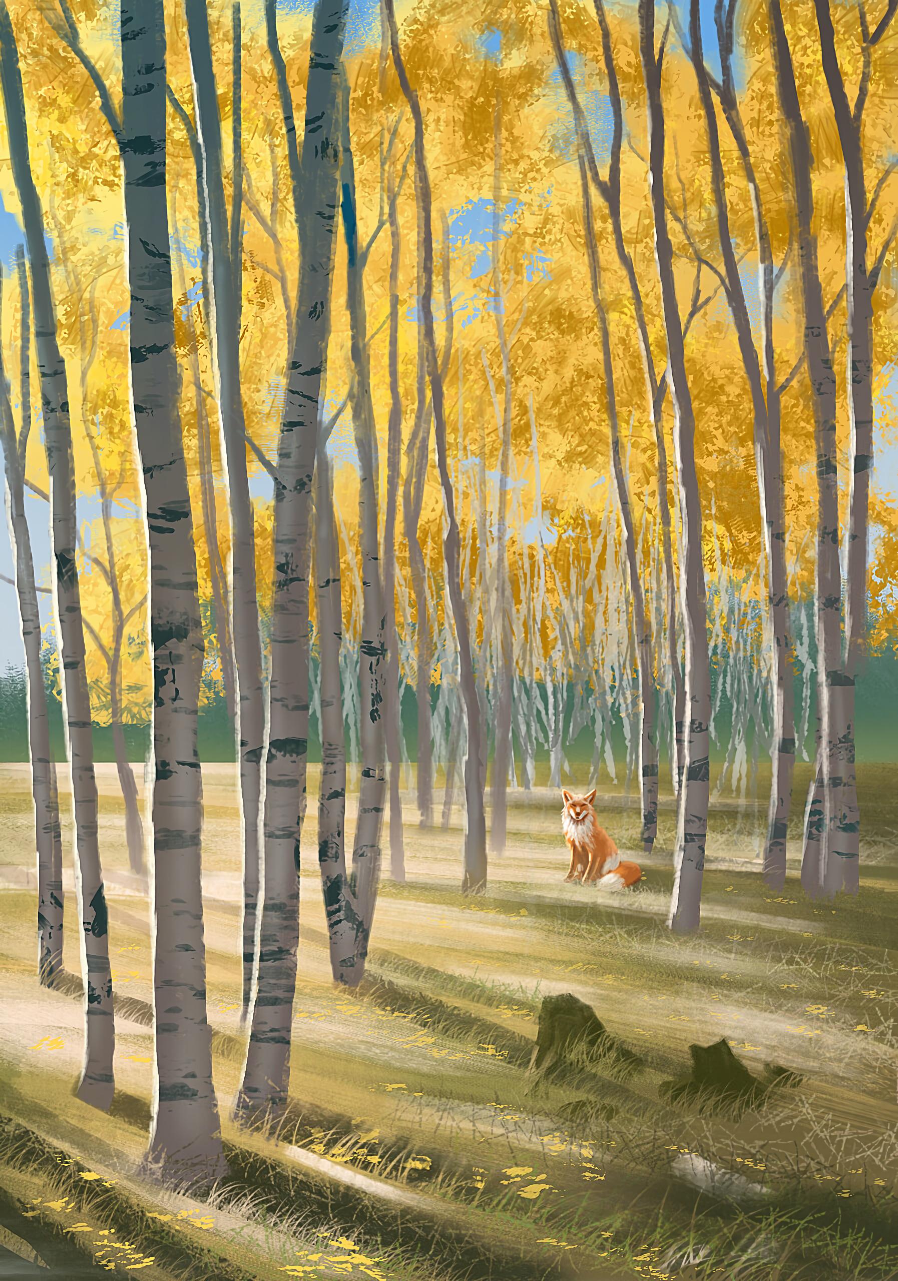 103599 скачать обои Лиса, Лес, Животное, Дикая Природа, Арт - заставки и картинки бесплатно