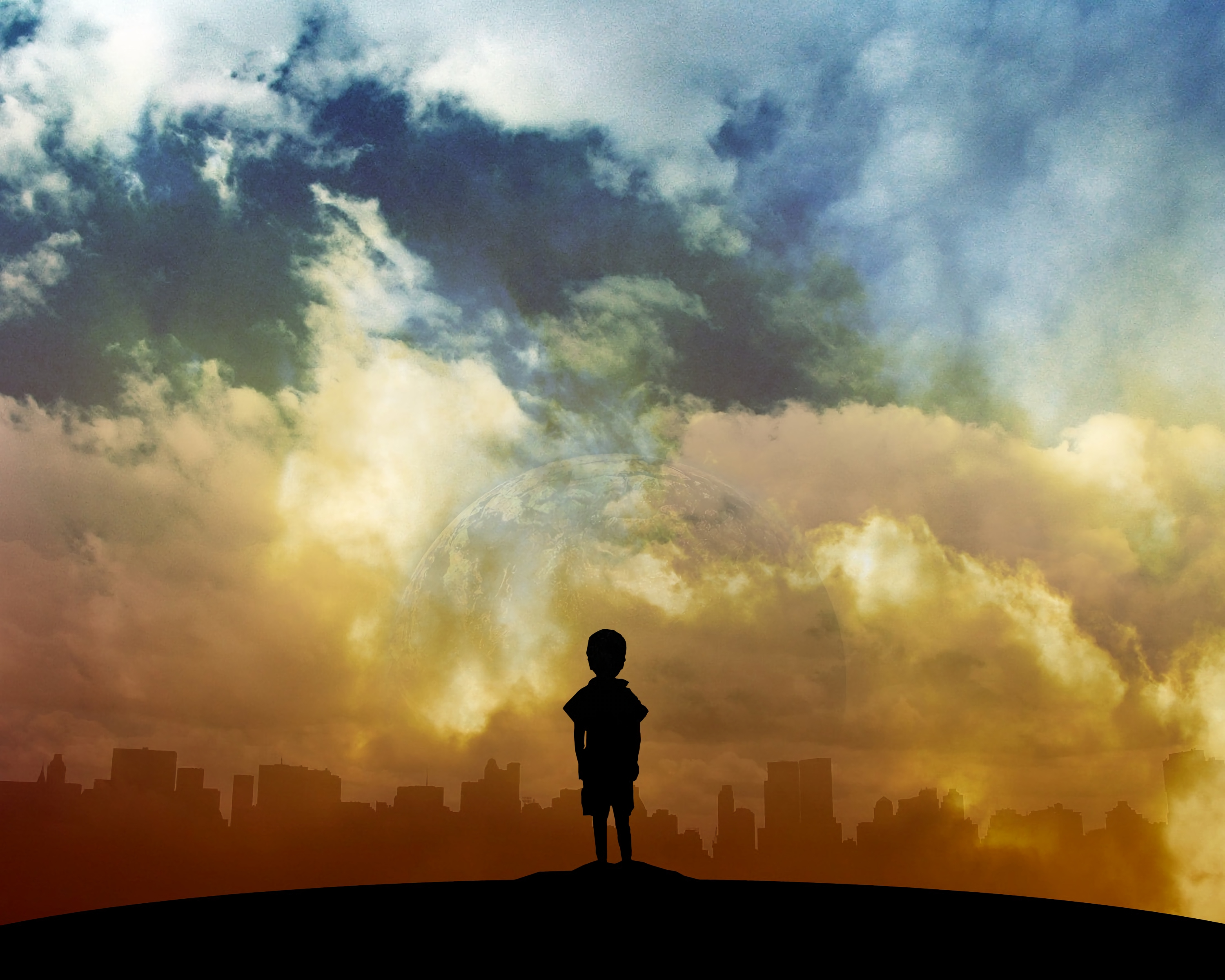 70854 download wallpaper Child, Art, Planet, Clouds, City screensavers and pictures for free