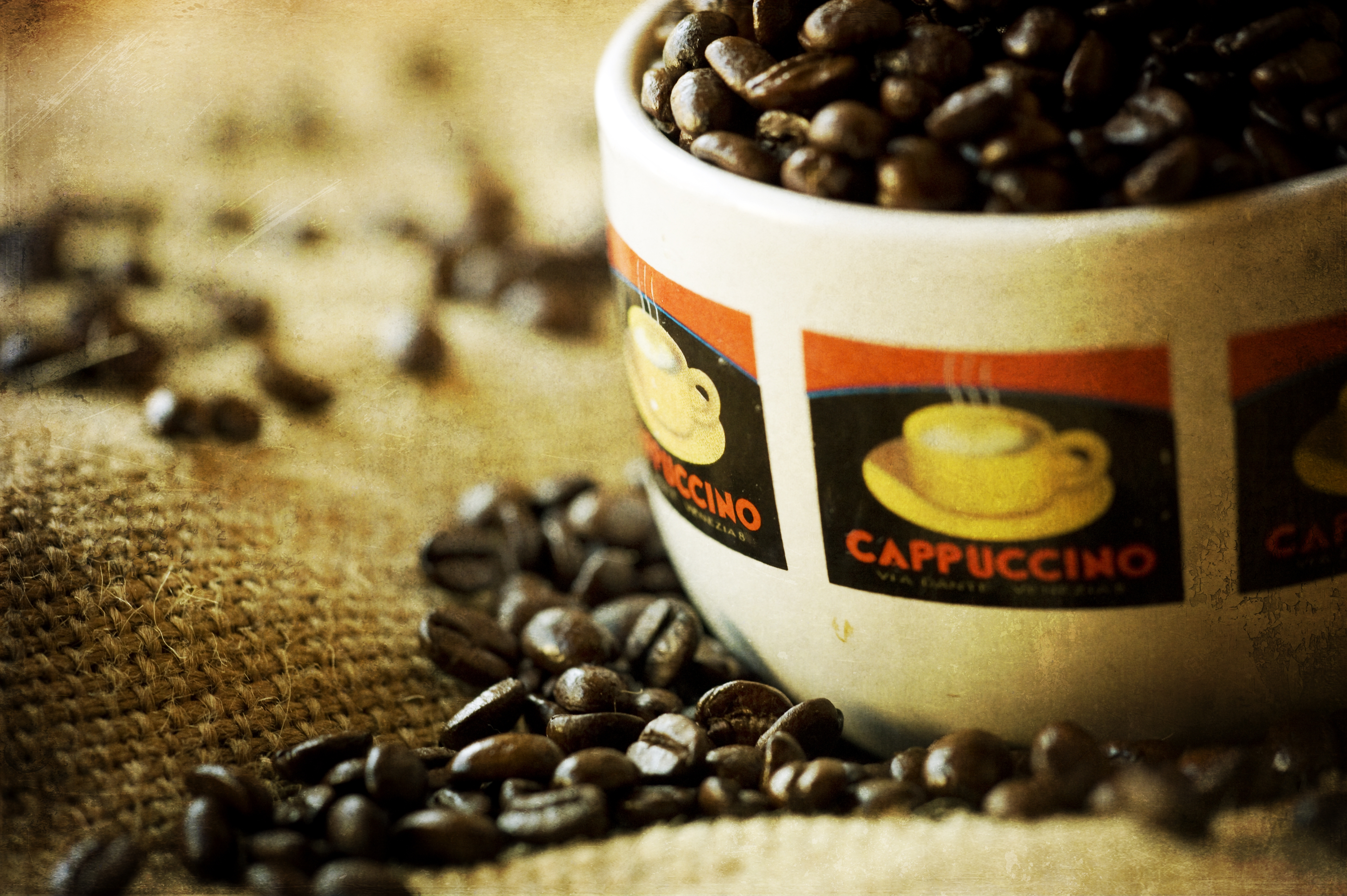 125040 download wallpaper Food, Coffee, Cup, Cappuccino, Grains, Grain, Bag, Sack screensavers and pictures for free